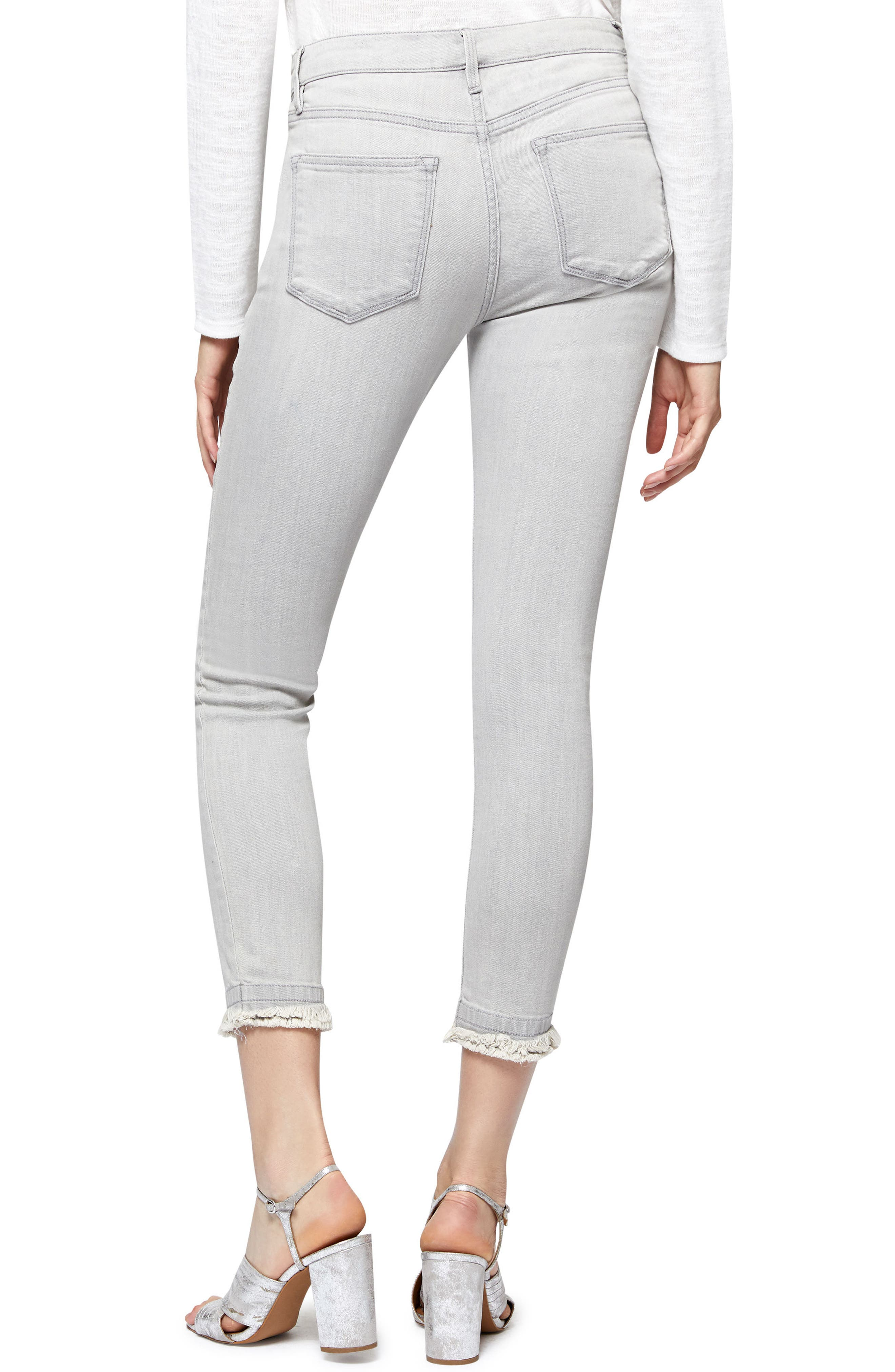 Saige Double Fray Ankle Jeans,                             Alternate thumbnail 2, color,                             Greyson