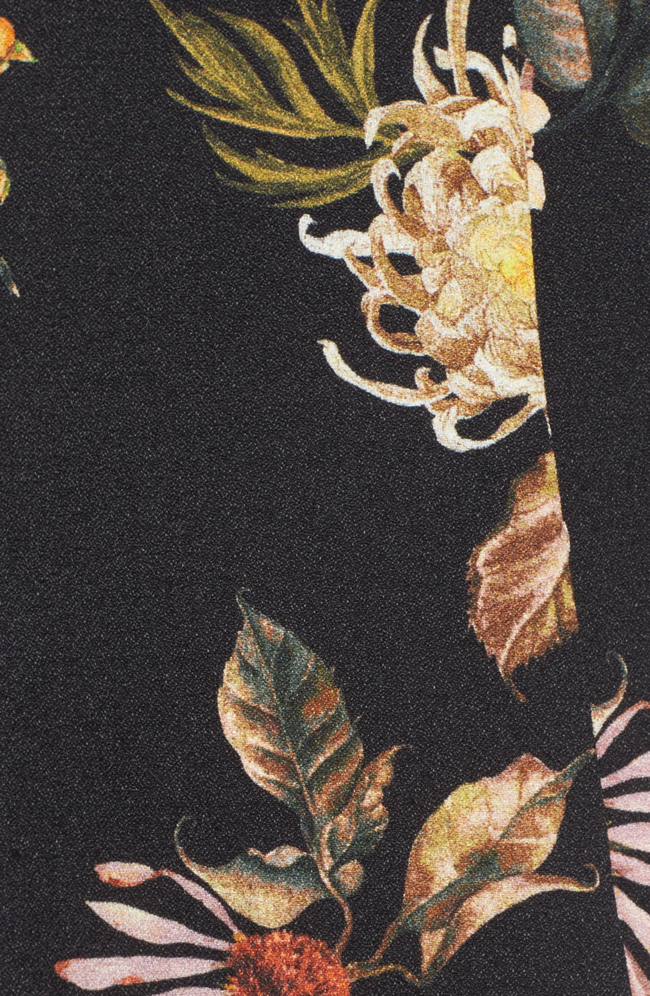 Savanna Lattice Back Fit & Flare Dress,                             Alternate thumbnail 5, color,                             Noir Floral