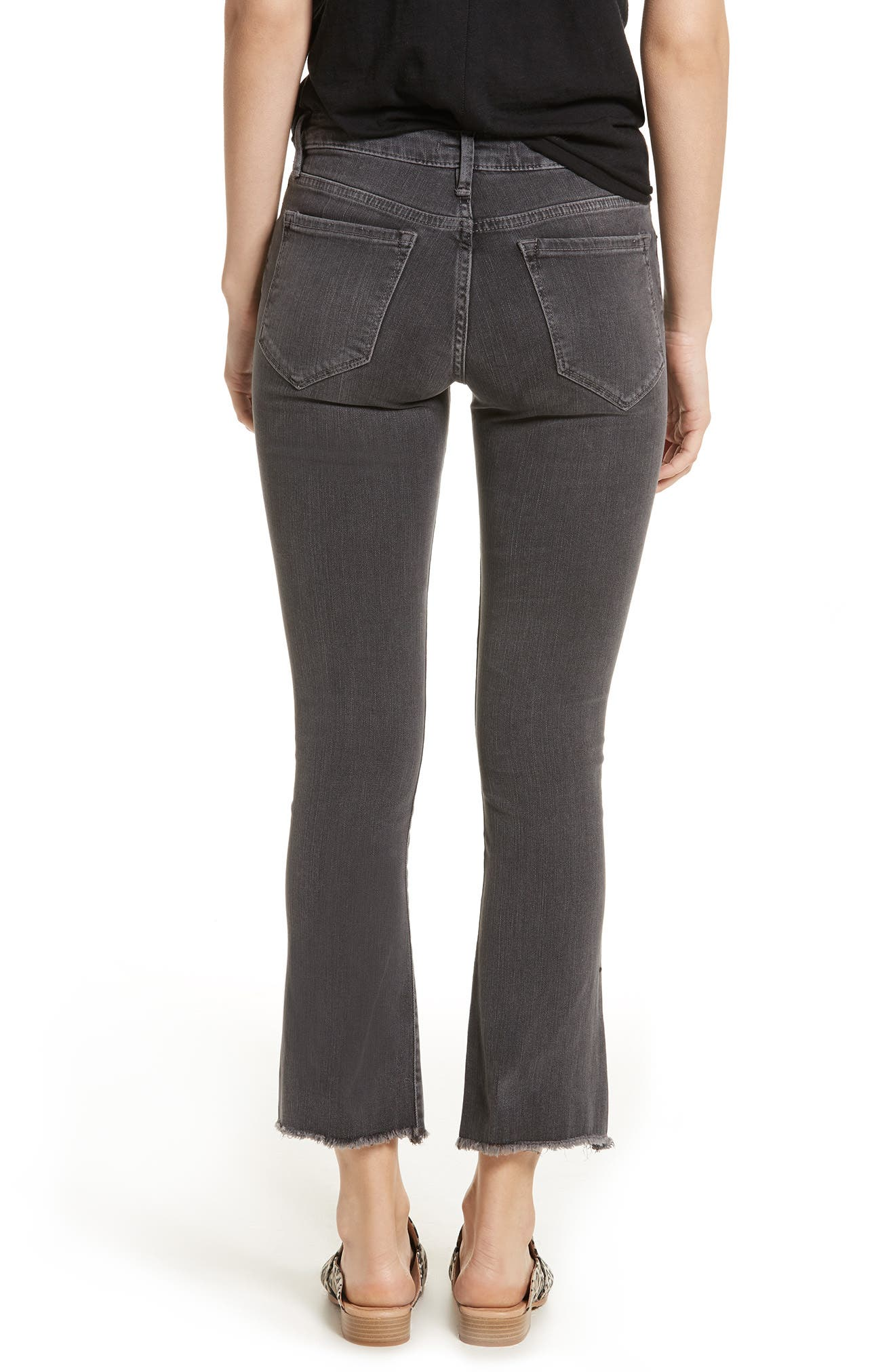 Crop Straight Leg Jeans,                             Alternate thumbnail 2, color,                             Black