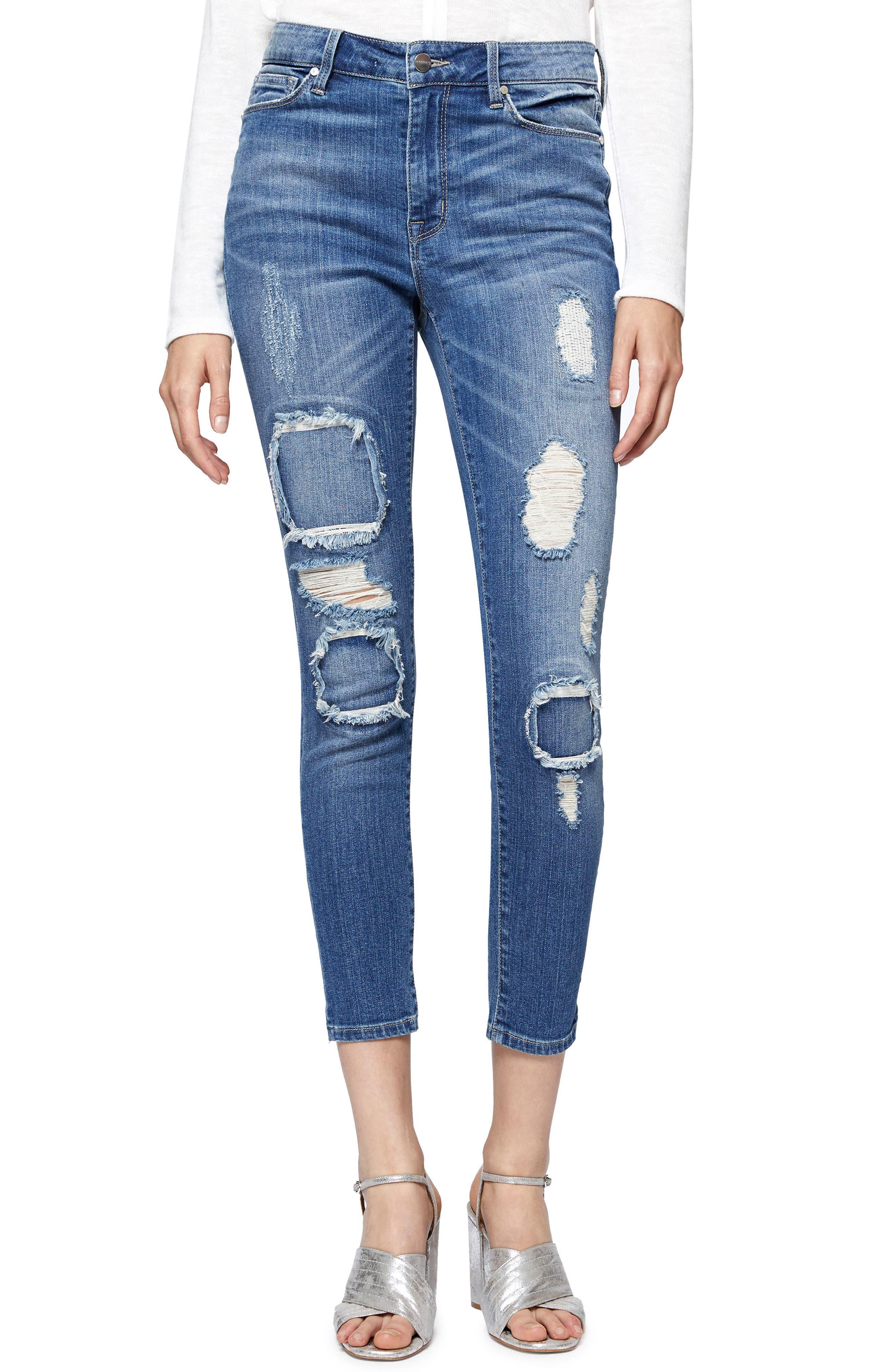 Main Image - Sanctuary Robbie Rip & Repair Skinny Ankle Jeans (Taylor)