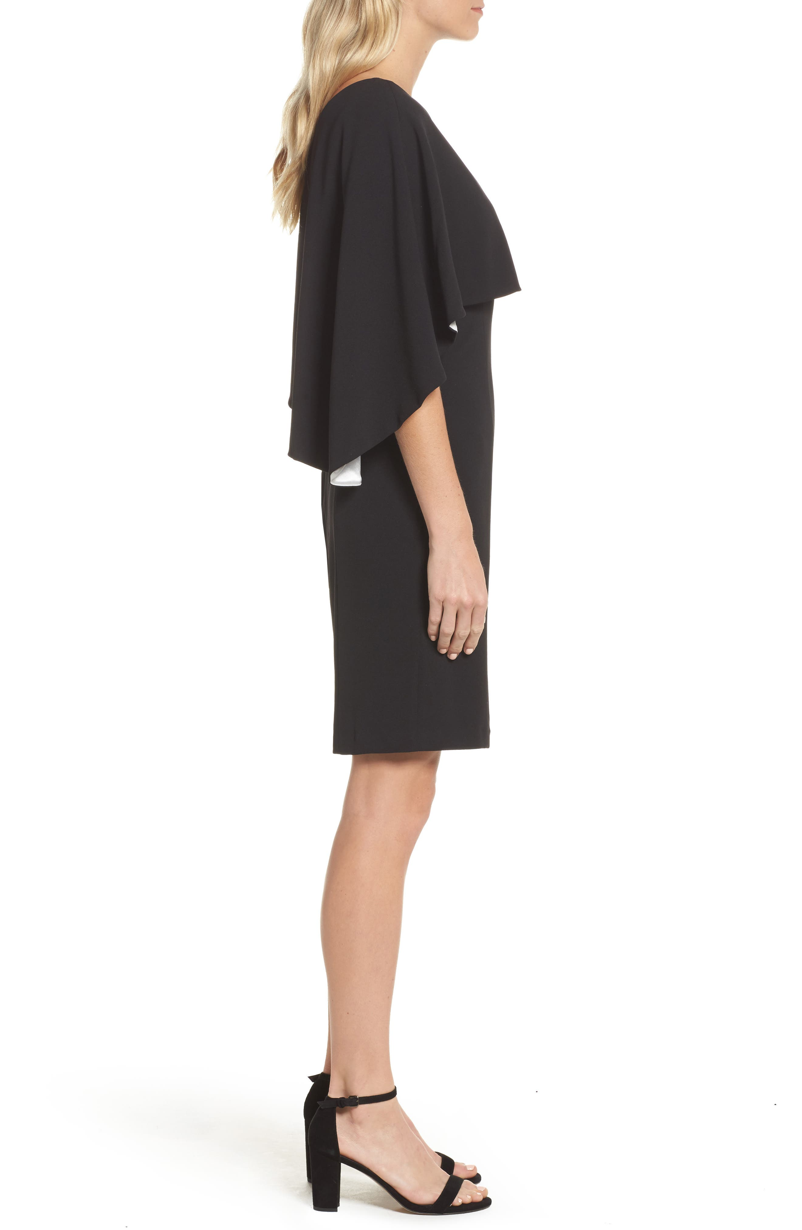 Crepe One-Shoulder Cape Dress,                             Alternate thumbnail 3, color,                             Black/ Ivory