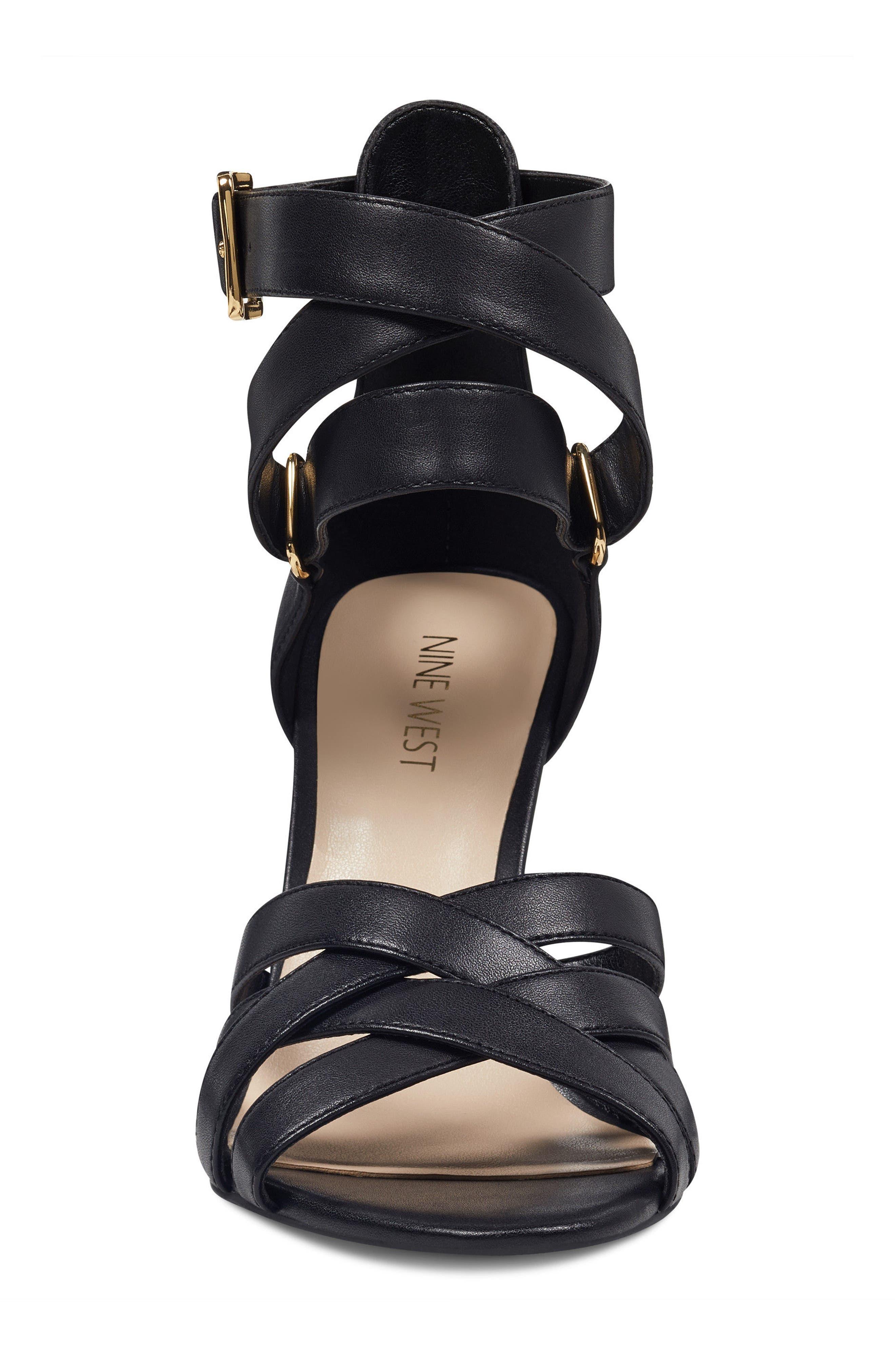 McGlynn Strappy Sandal,                             Alternate thumbnail 4, color,                             Black Leather
