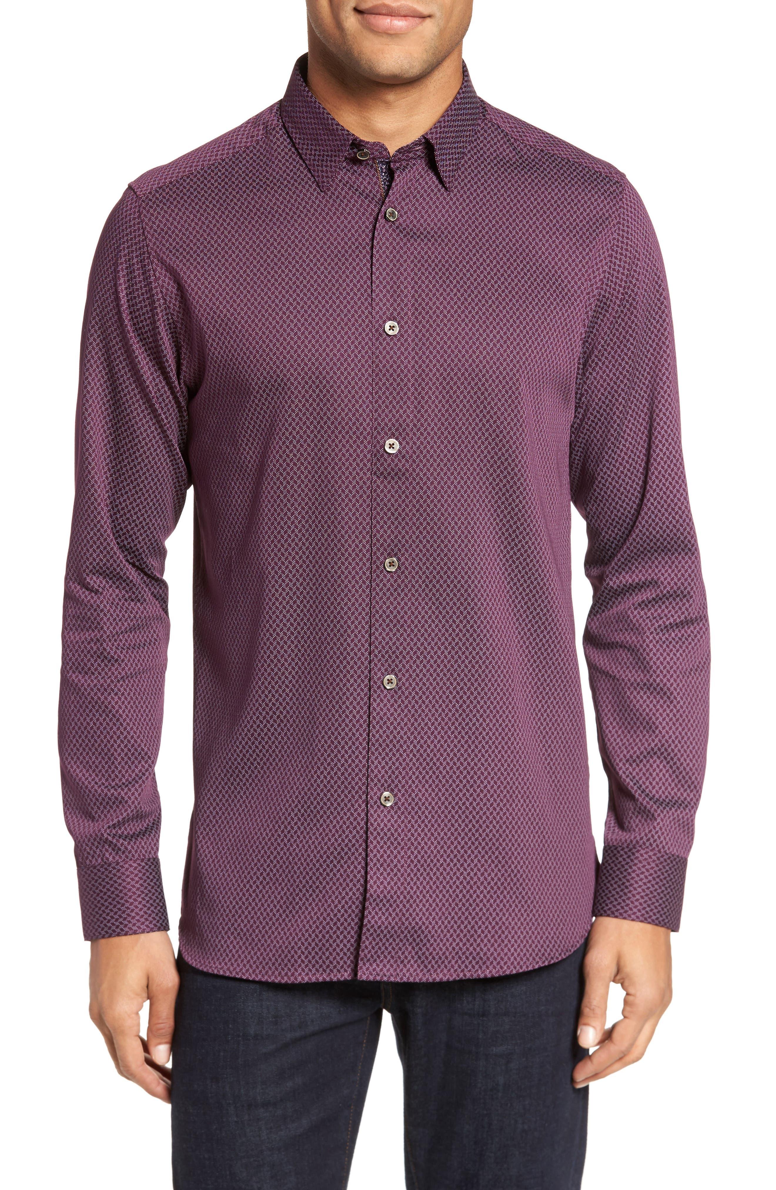 Alternate Image 1 Selected - Ted Baker London Modern Slim Fit Print Sport Shirt