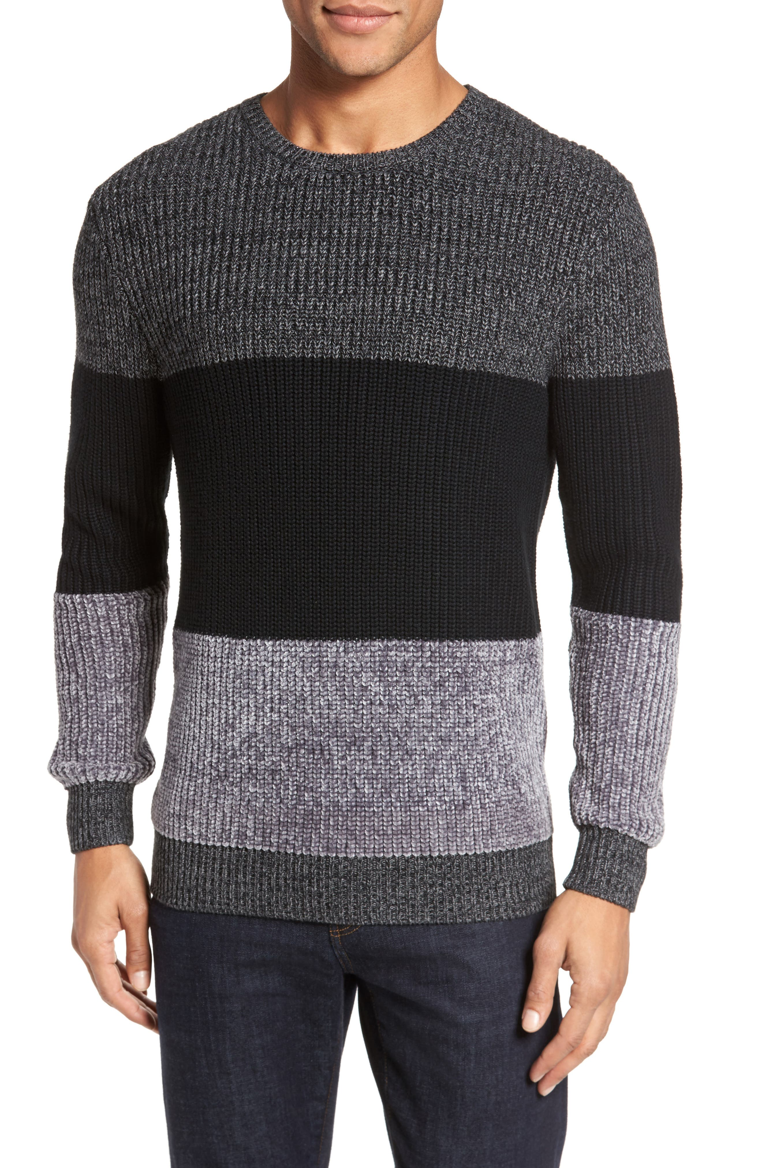 Colorblock Chenille Sweater,                         Main,                         color, Heather Navy