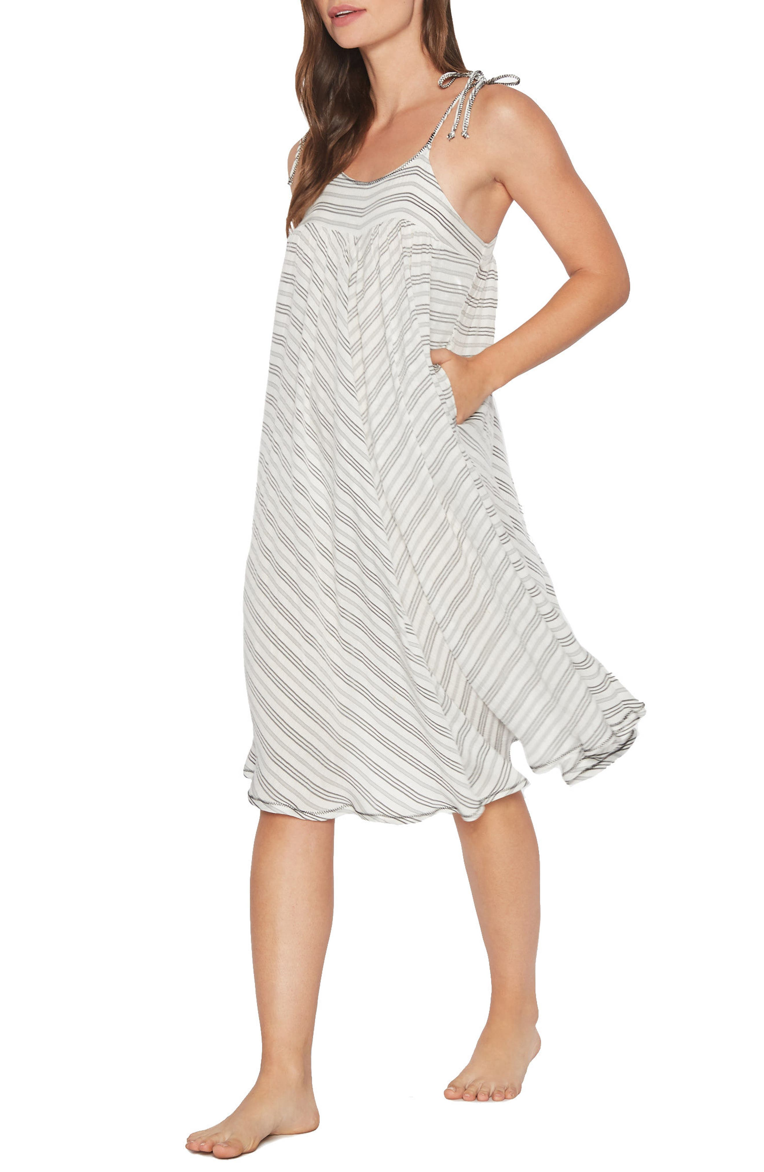Norah Stripe Cover-Up Dress,                             Main thumbnail 1, color,                             Grey/ White