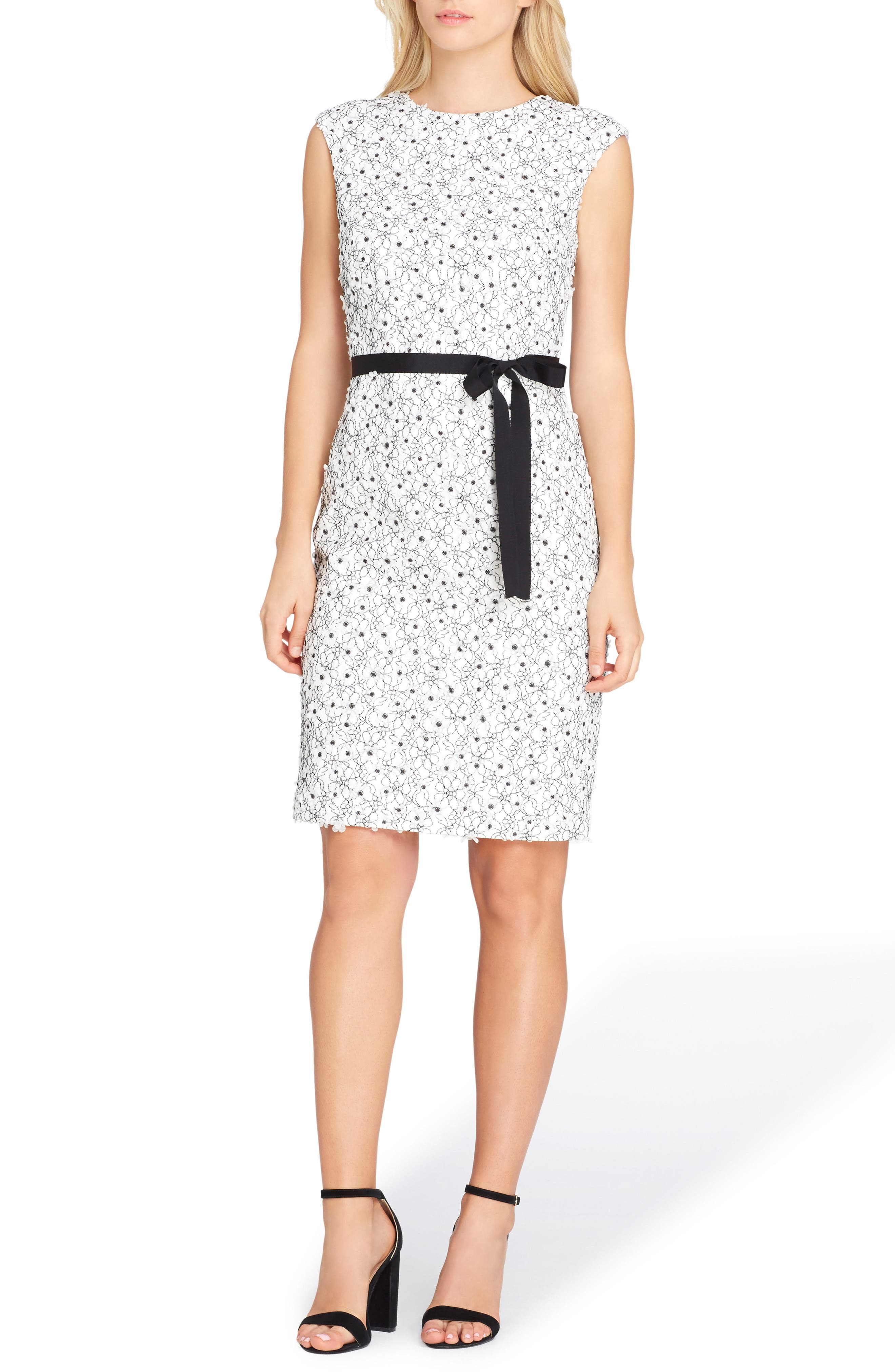 Lace Sheath Dress,                         Main,                         color, White/ Black