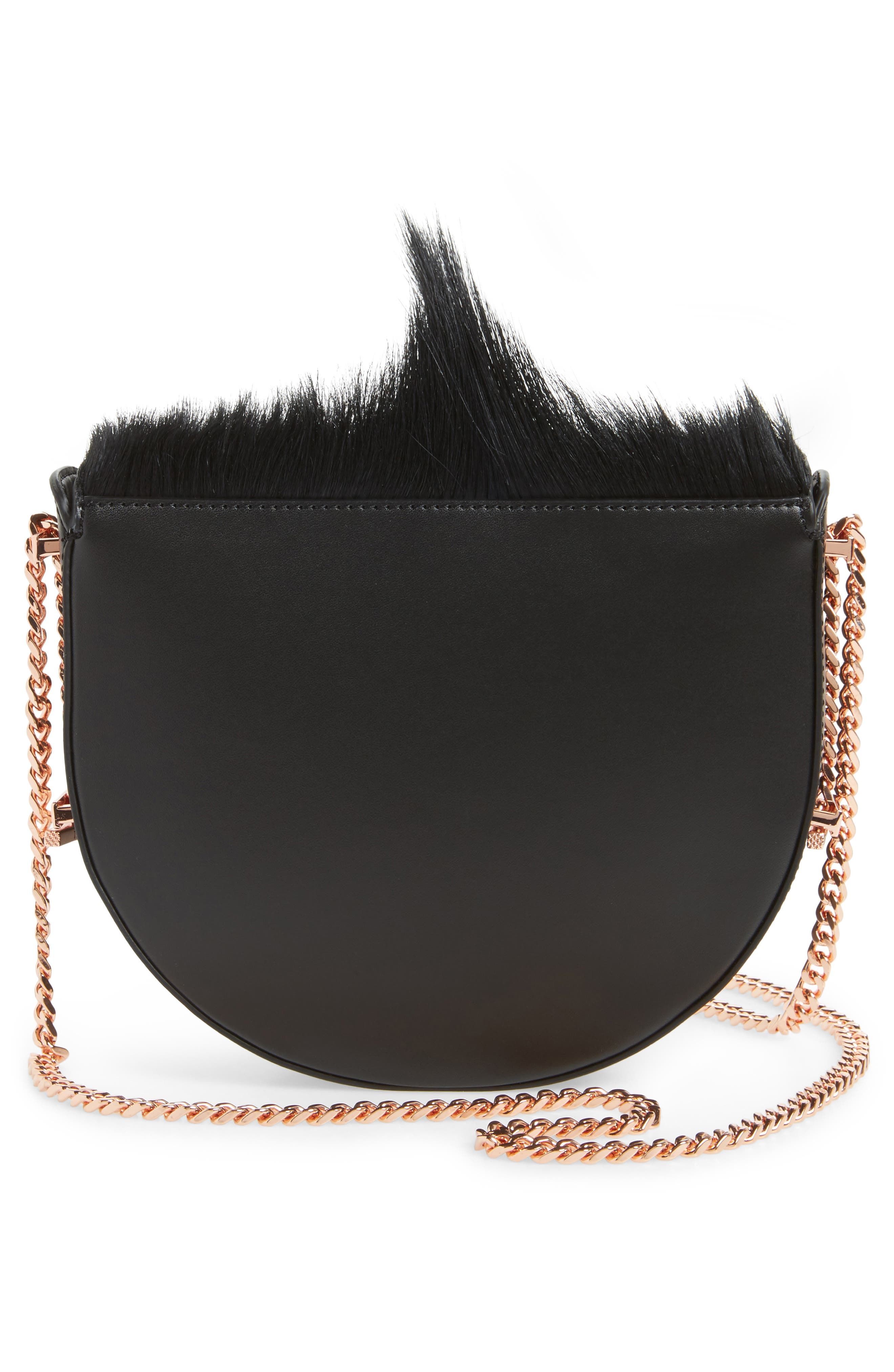 Alisonn Leather & Genuine Springbok Fur Saddle Bag,                             Alternate thumbnail 3, color,                             Black