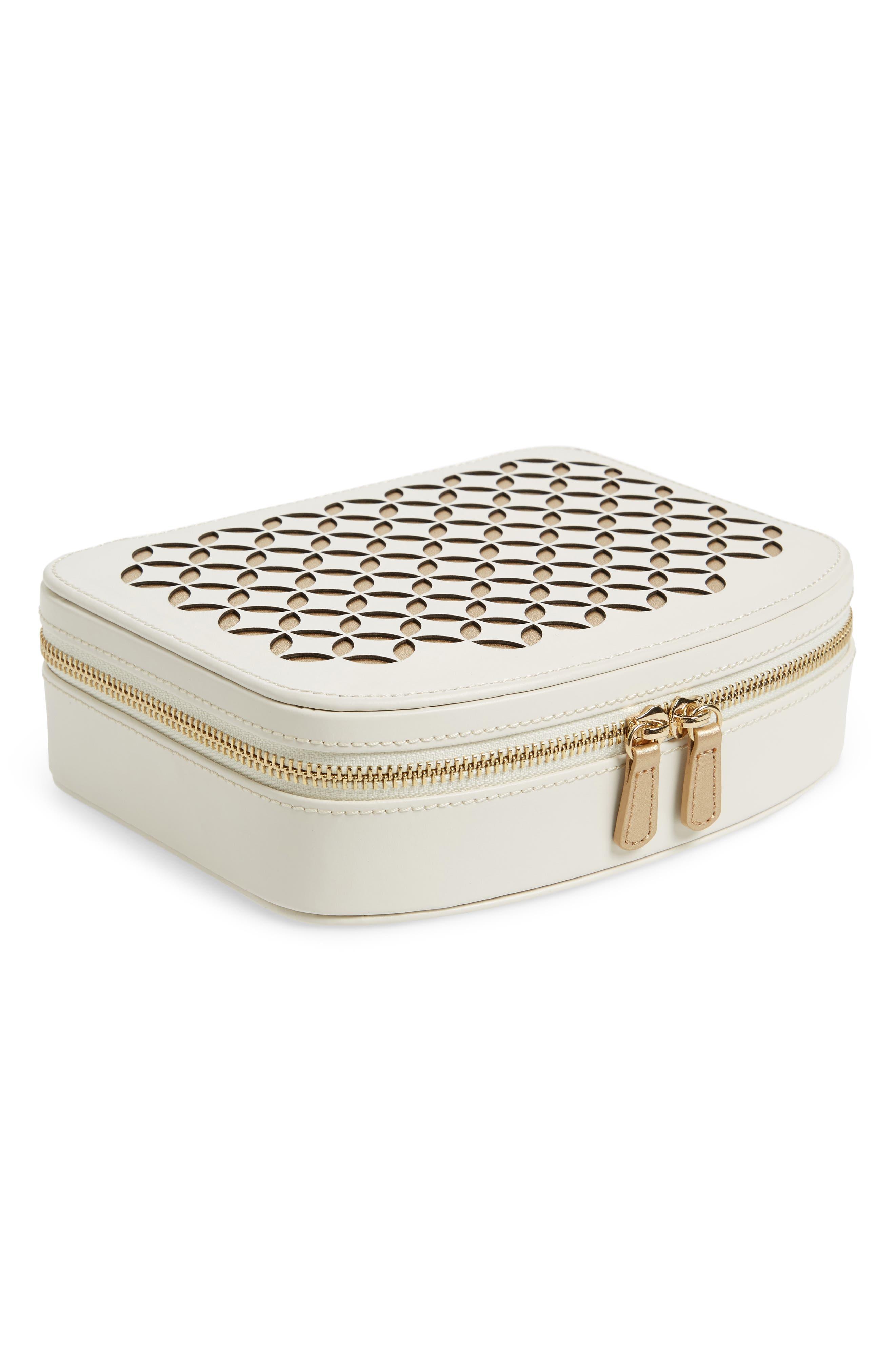 Chloe Zip Jewelry Case,                         Main,                         color, Cream