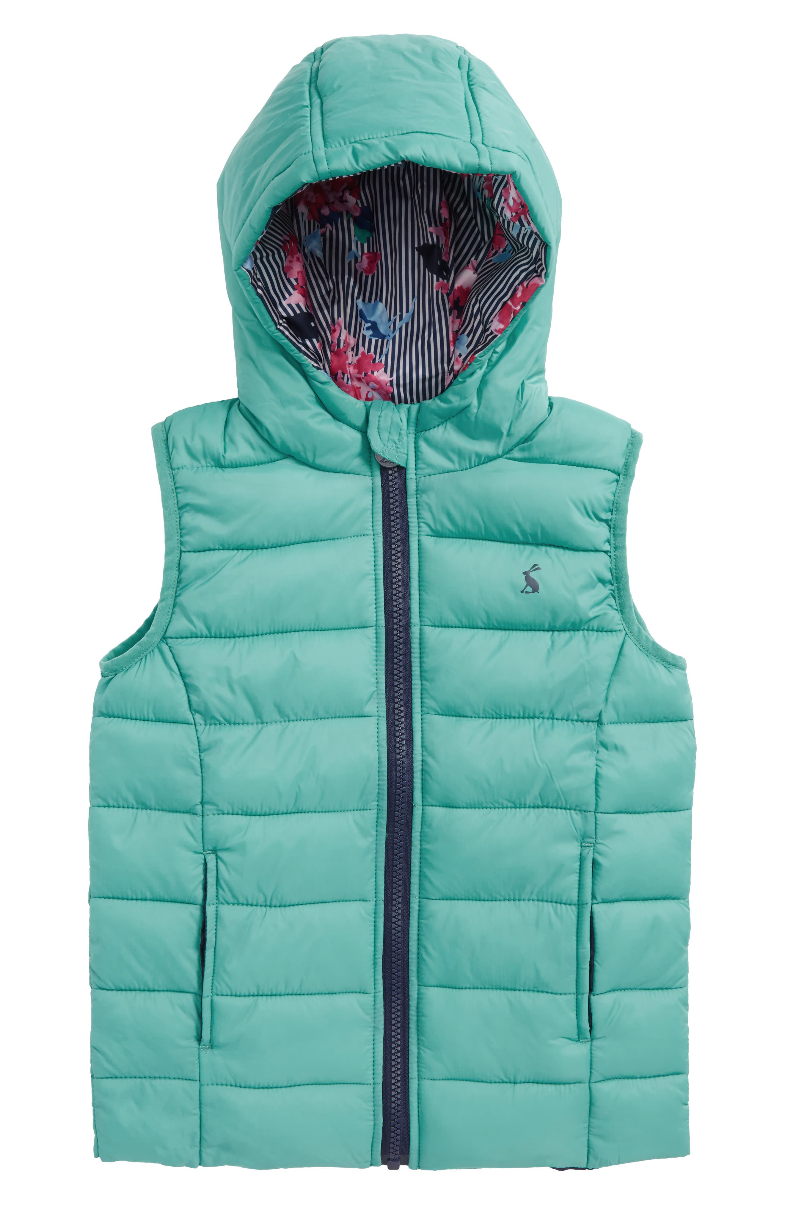 Printed Packaway Vest,                         Main,                         color, Cool Green