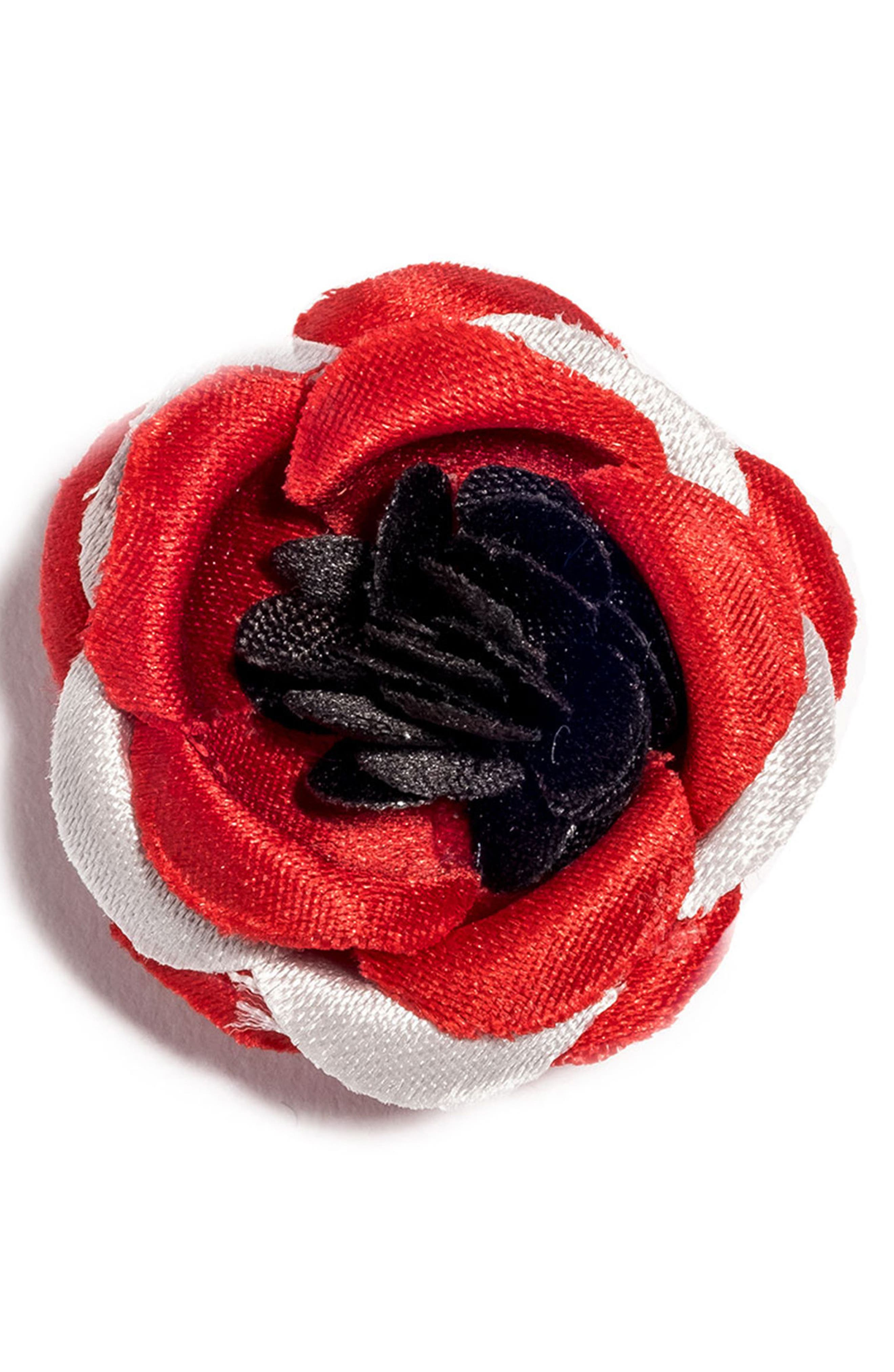 Satin Lapel Flower,                         Main,                         color, Grey/ Red