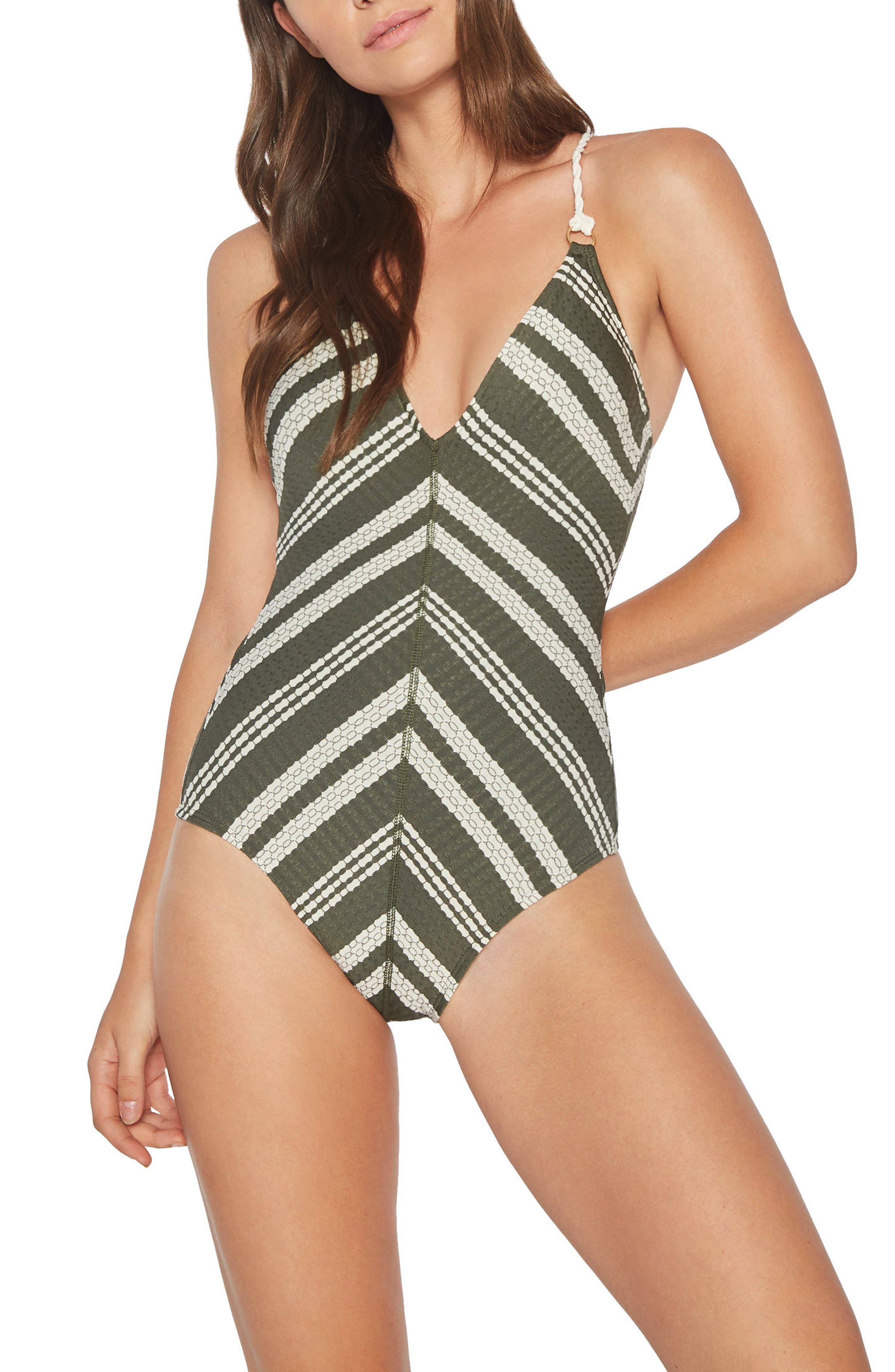 Livvy One-Piece Swimsuit,                         Main,                         color, Deep Forest