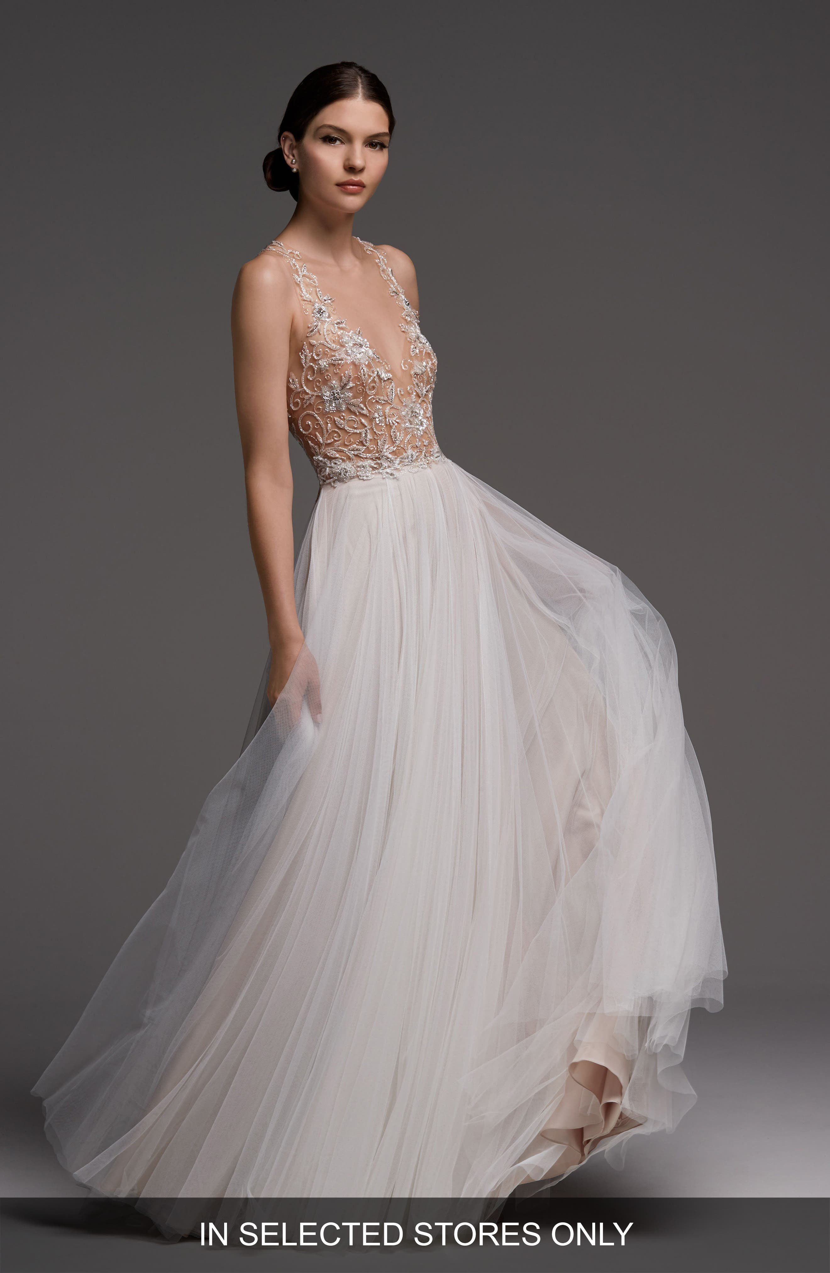 Main Image - Watters Wessex Beaded Open Back Gown