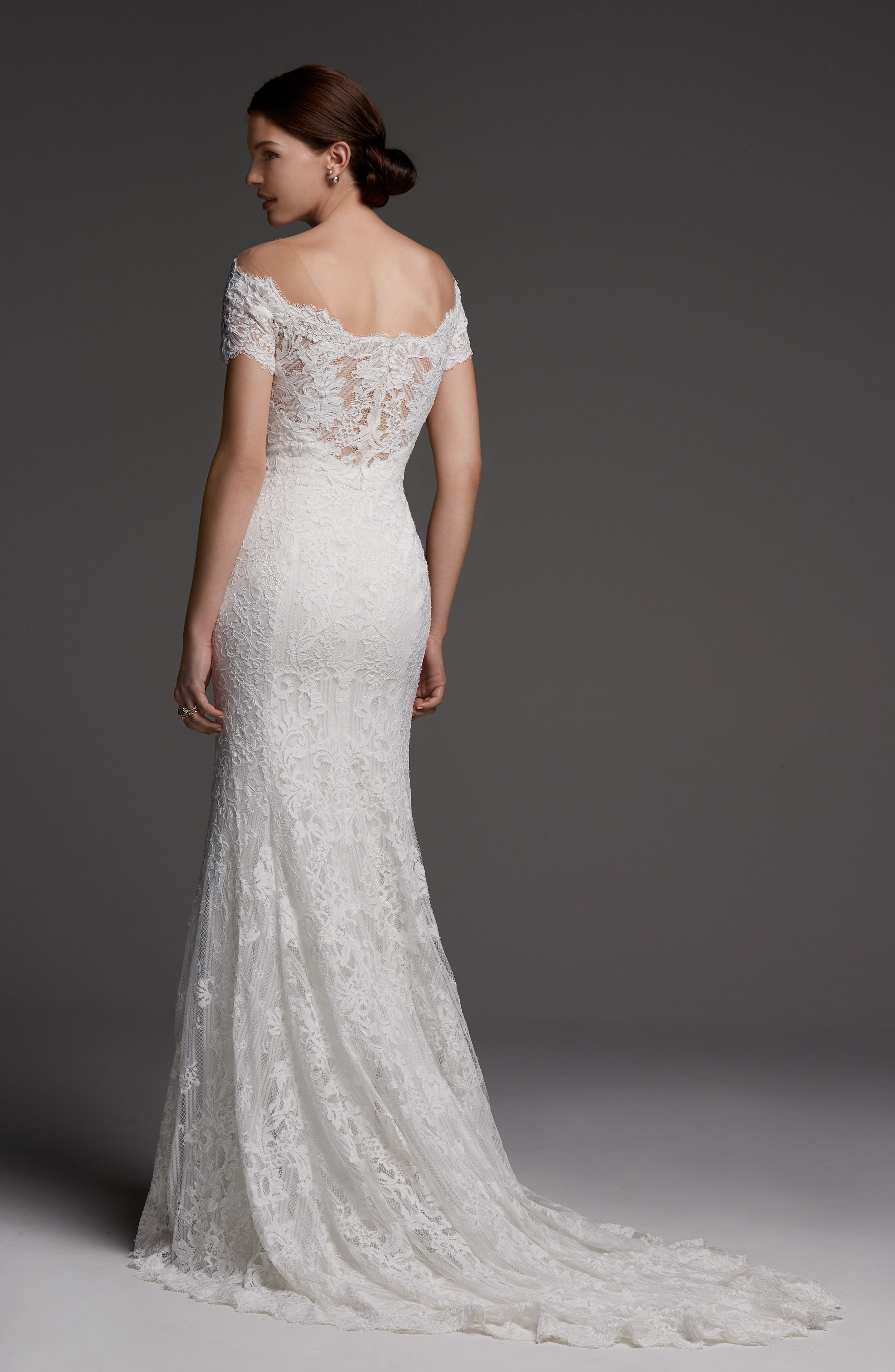Alternate Image 2  - Watters Visconti Short Sleeve Lace Gown