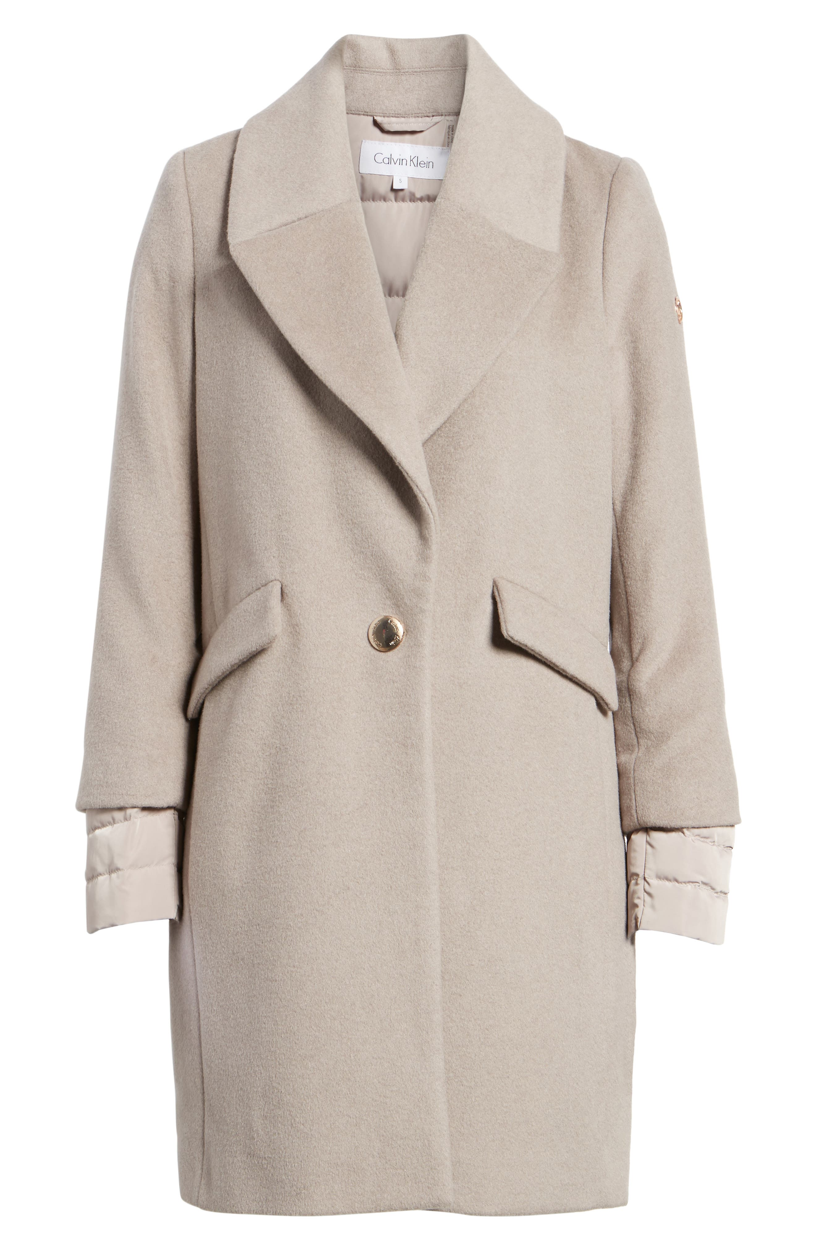 Wool & Down Reefer Coat,                             Alternate thumbnail 4, color,                             Thistle