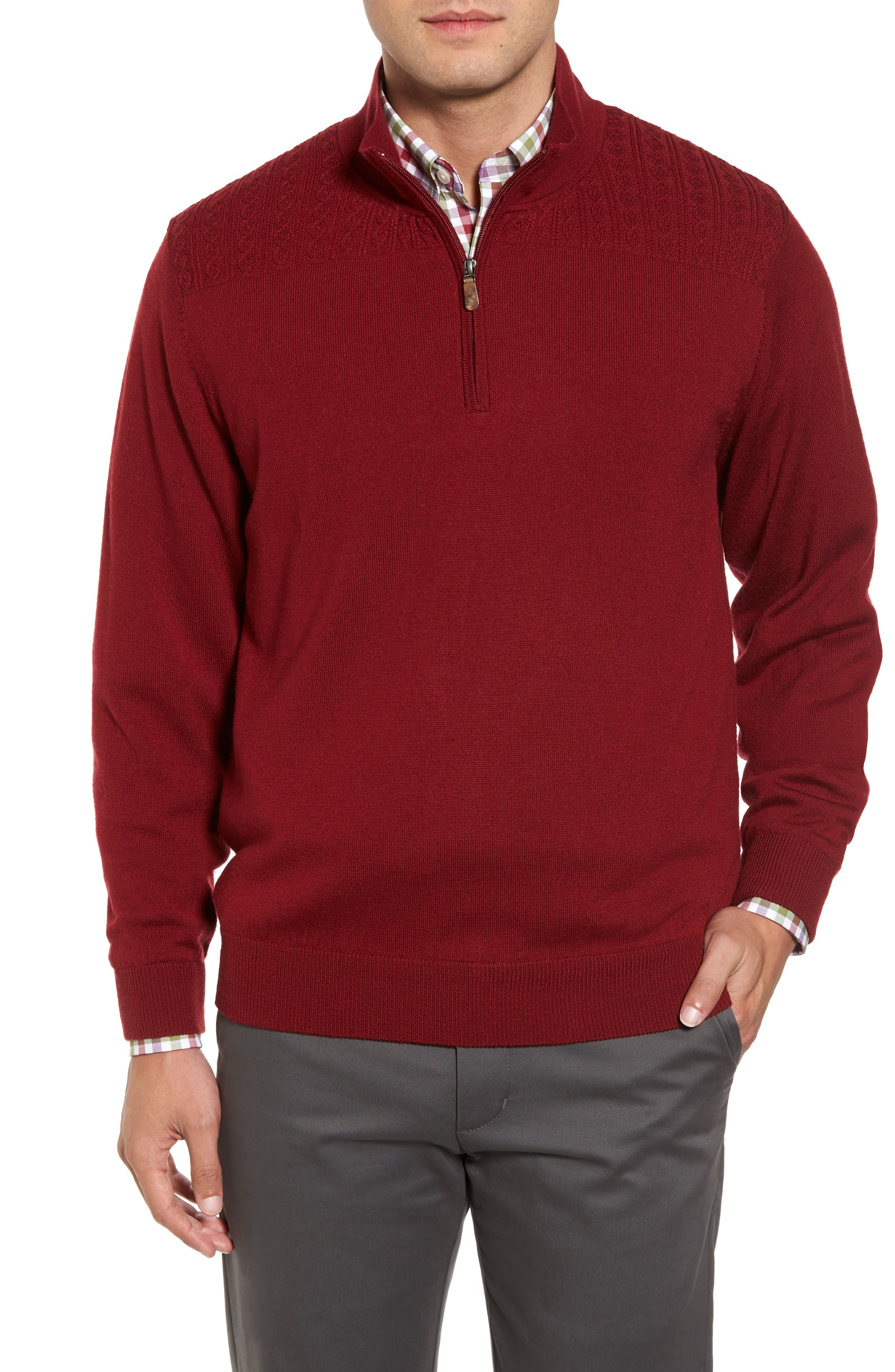 Cable Wind Wool Sweater,                         Main,                         color, Brick Red