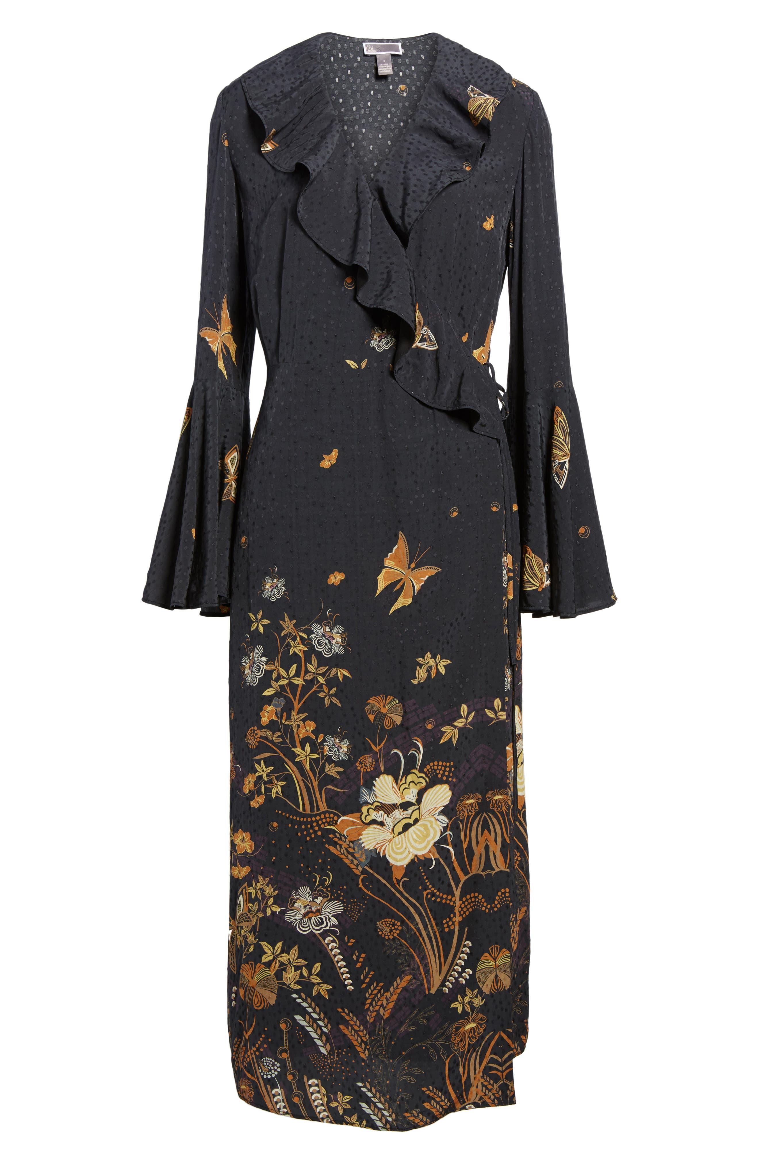Jacquard Midi Wrap Dress,                             Alternate thumbnail 6, color,                             Black Decorative Scenery Print
