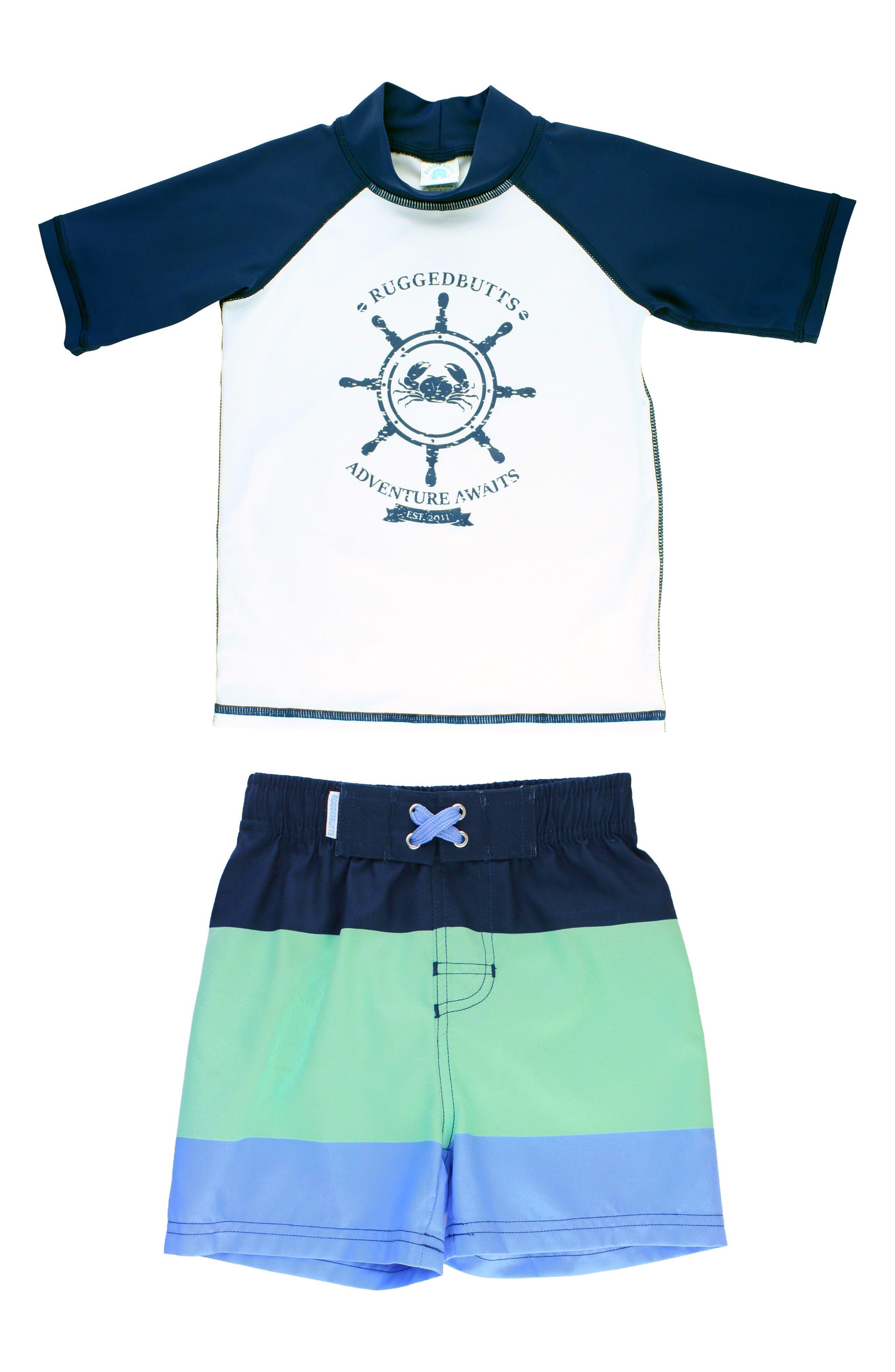 Nautical AdventureTwo-Piece Rashguard Swimsuit,                         Main,                         color, White