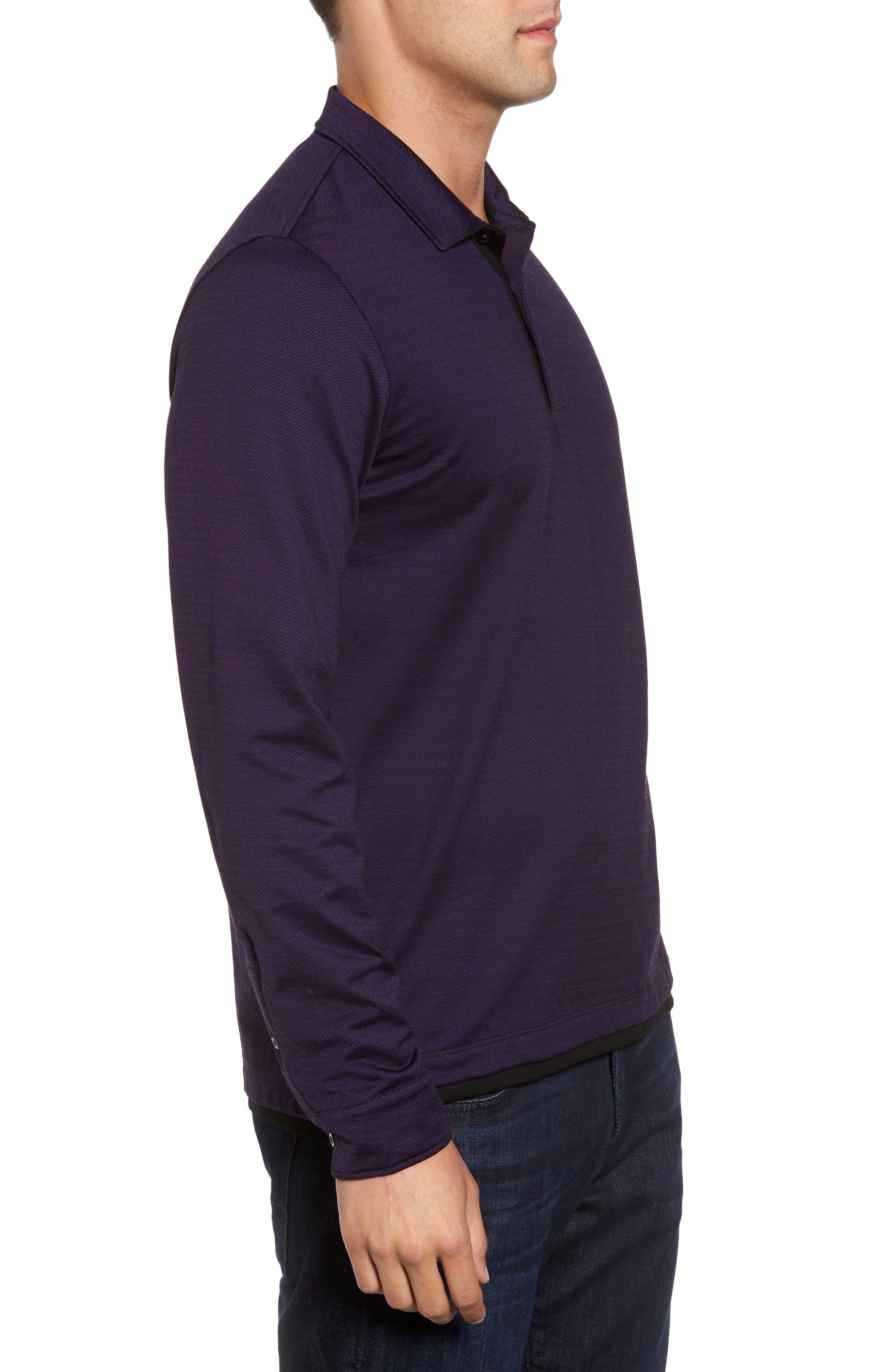 Herringbone Jacquard Polo,                             Alternate thumbnail 3, color,                             Purple