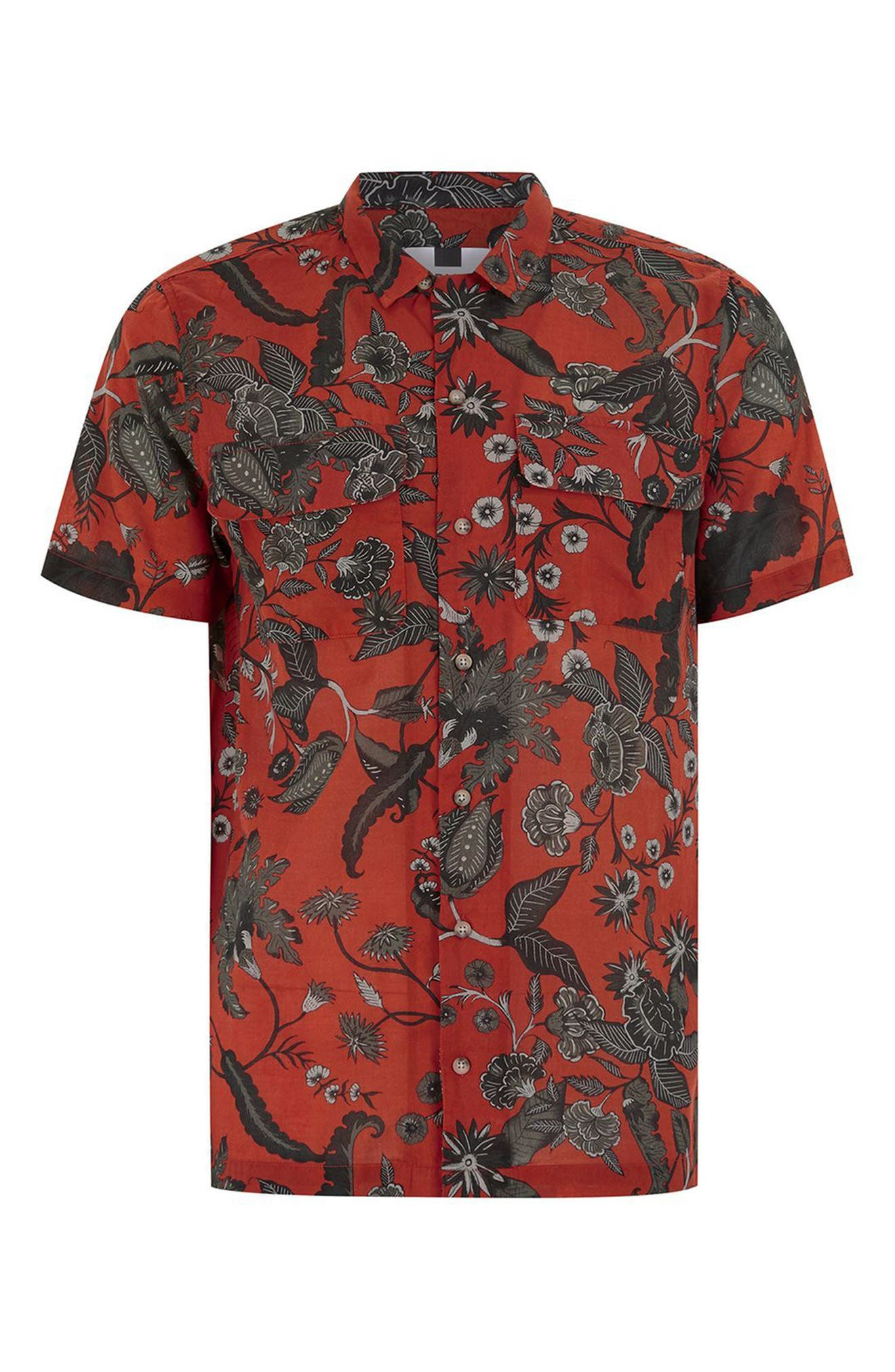 Red Floral Revere Collar Shirt,                             Alternate thumbnail 4, color,                             Red Multi
