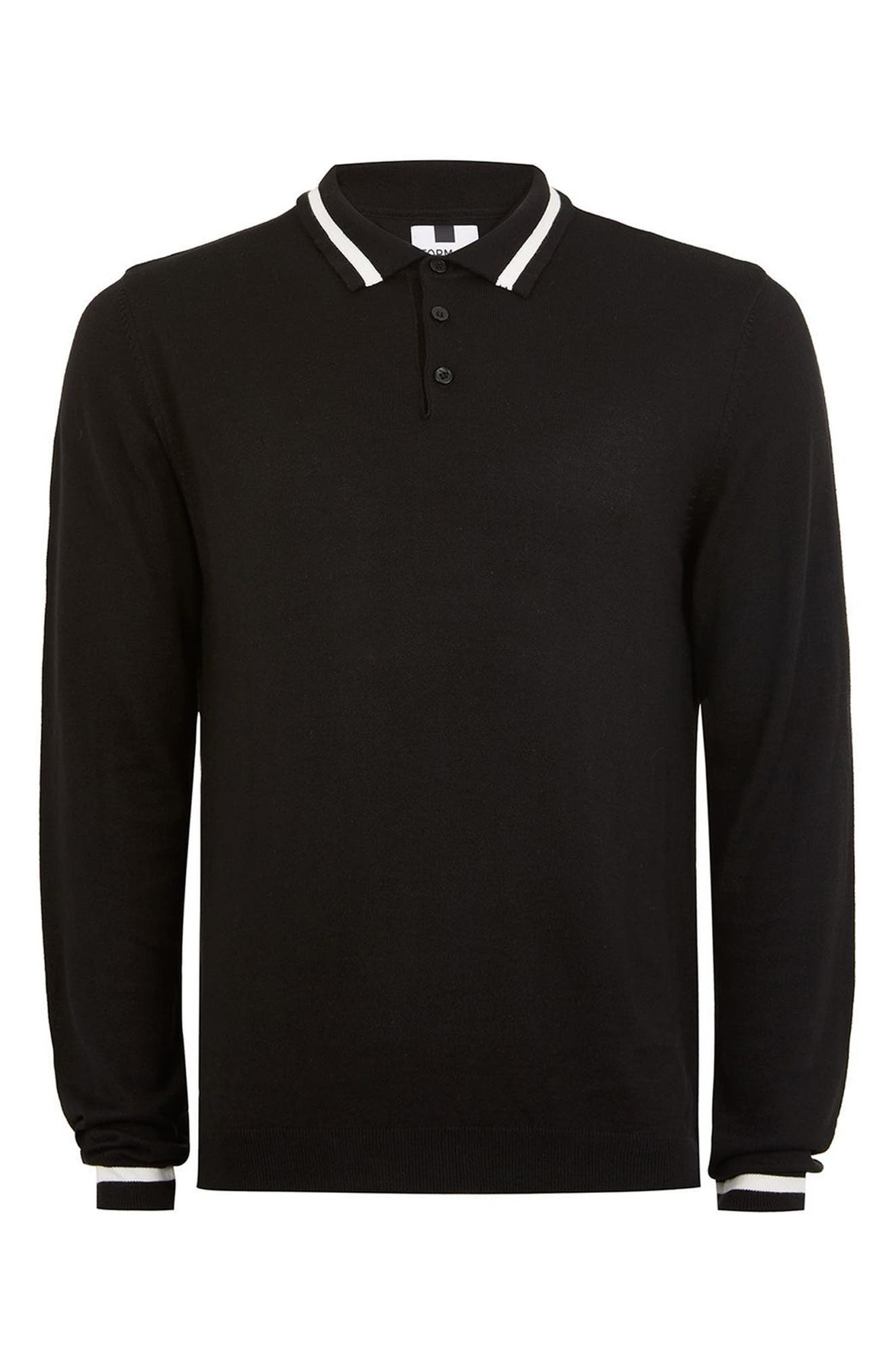 Classic Tipped Knit Polo,                             Alternate thumbnail 4, color,                             Black