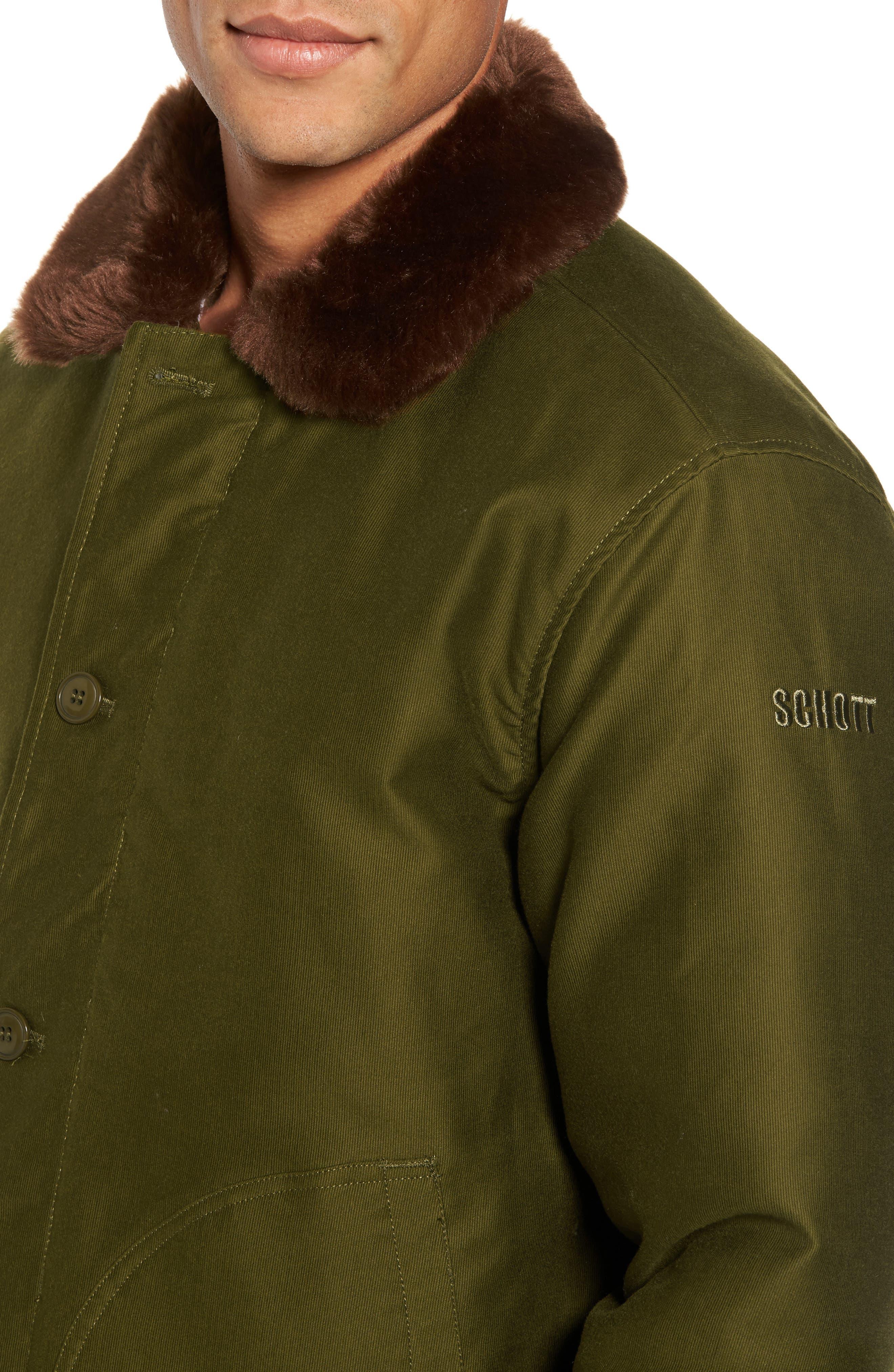 Alternate Image 4  - Schott NYC Faux Fur Collar Water-Repellent Corduroy Down Jacket