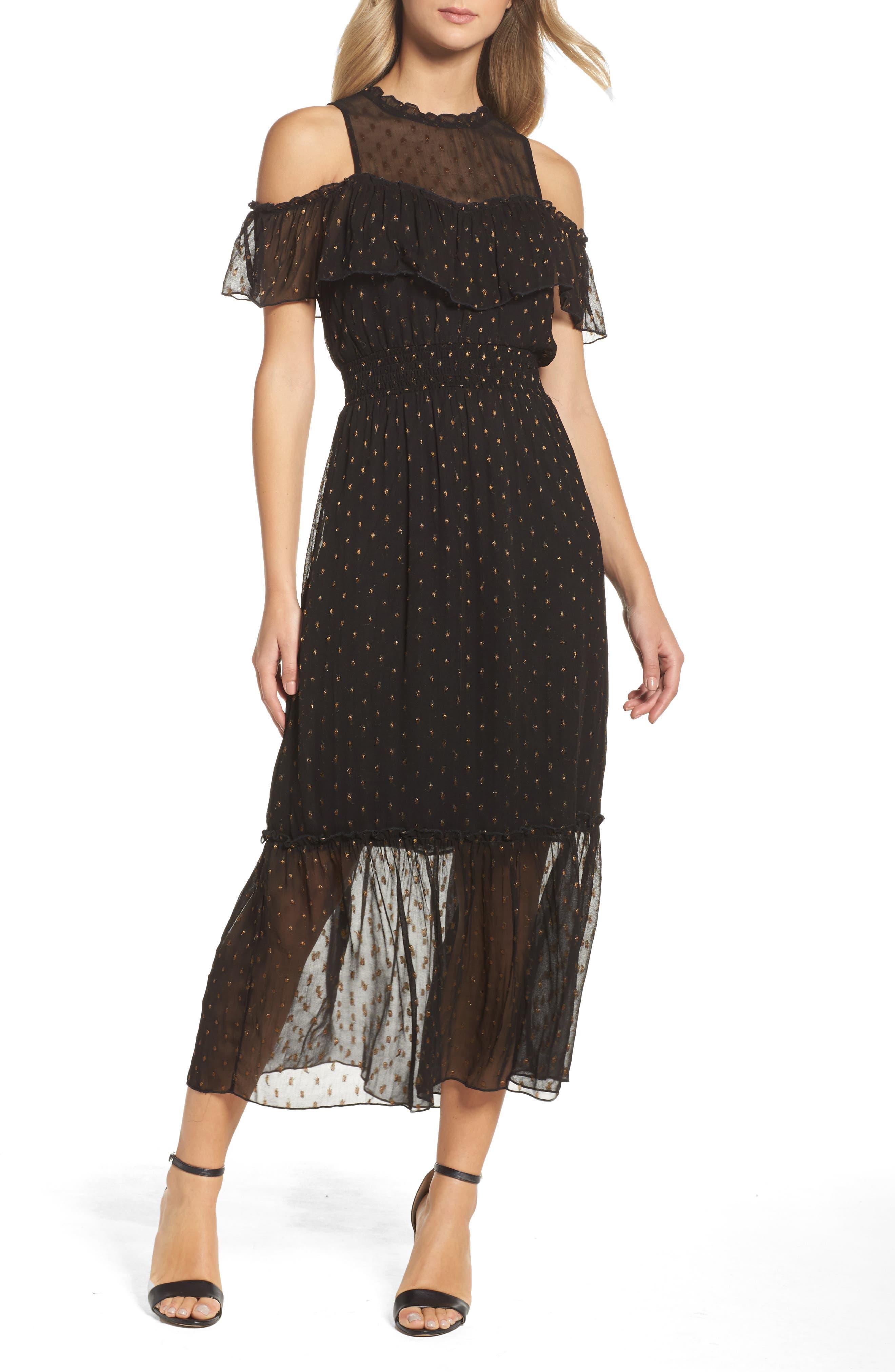 Lace Cold Shoulder Midi Dress,                         Main,                         color, Black