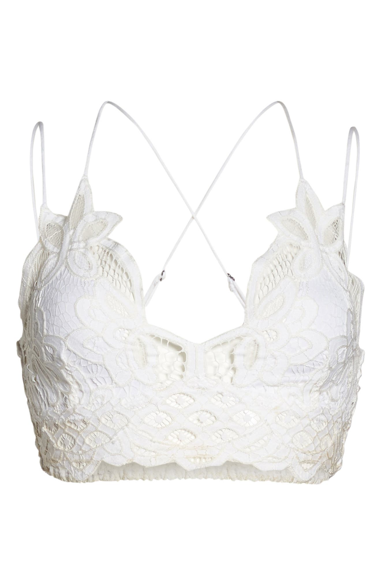 Intimately FP Adella Longline Bralette,                             Alternate thumbnail 4, color,                             White