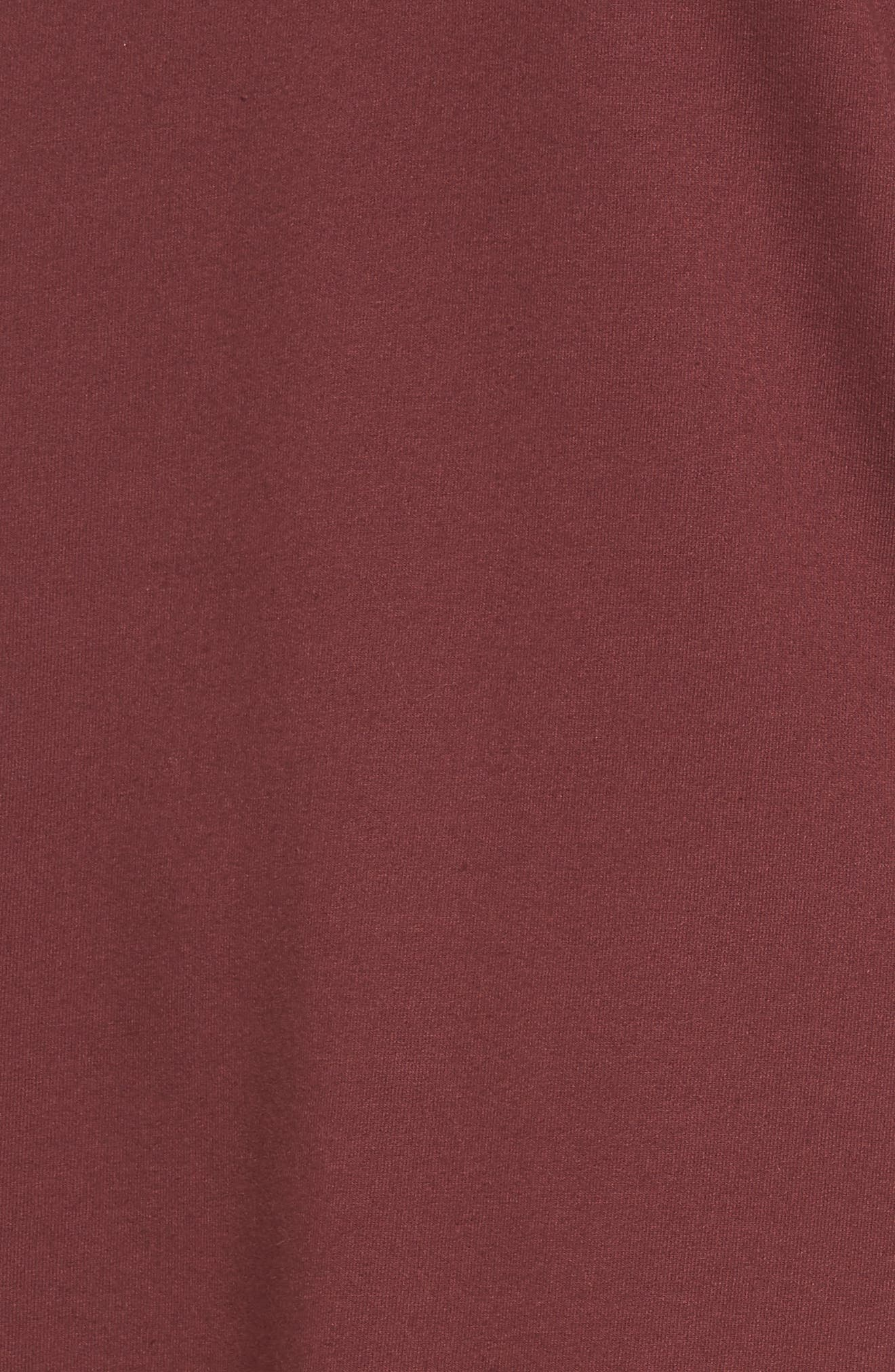 Gathered Sleeve Sweatshirt Dress,                             Alternate thumbnail 5, color,                             Burgundy