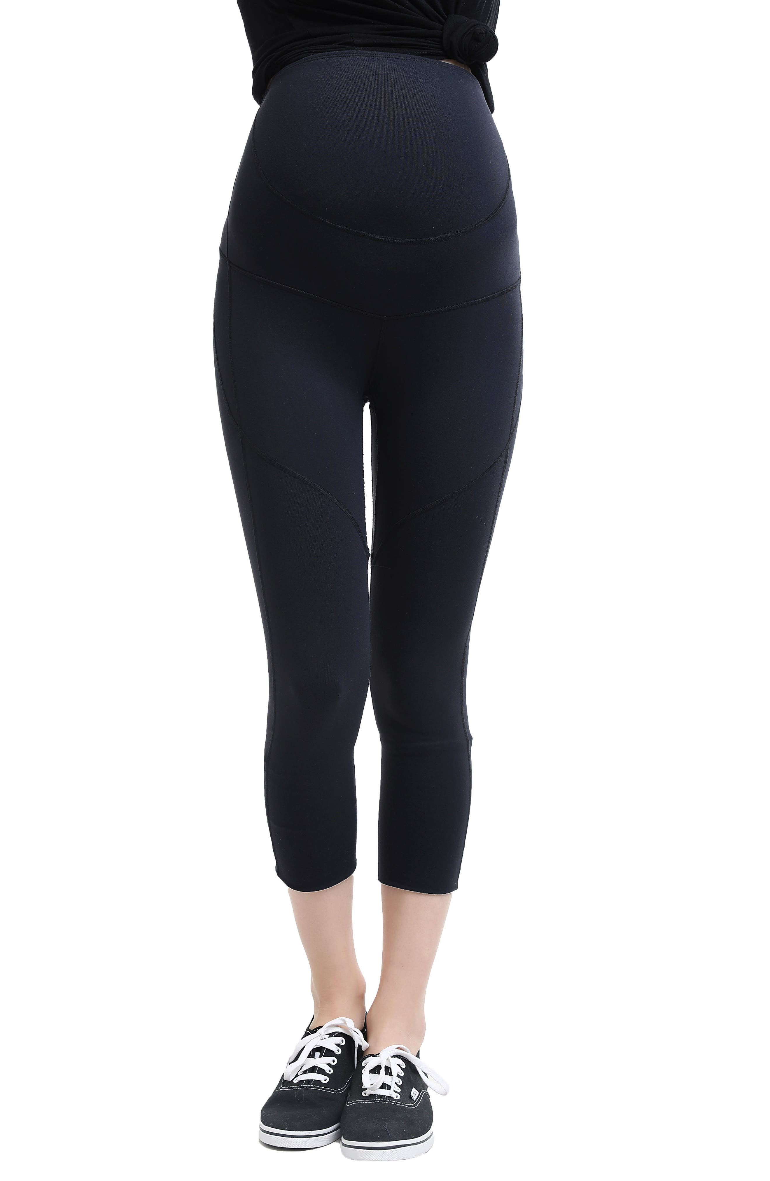Elle High Performance Cropped Maternity Leggings,                         Main,                         color, Black