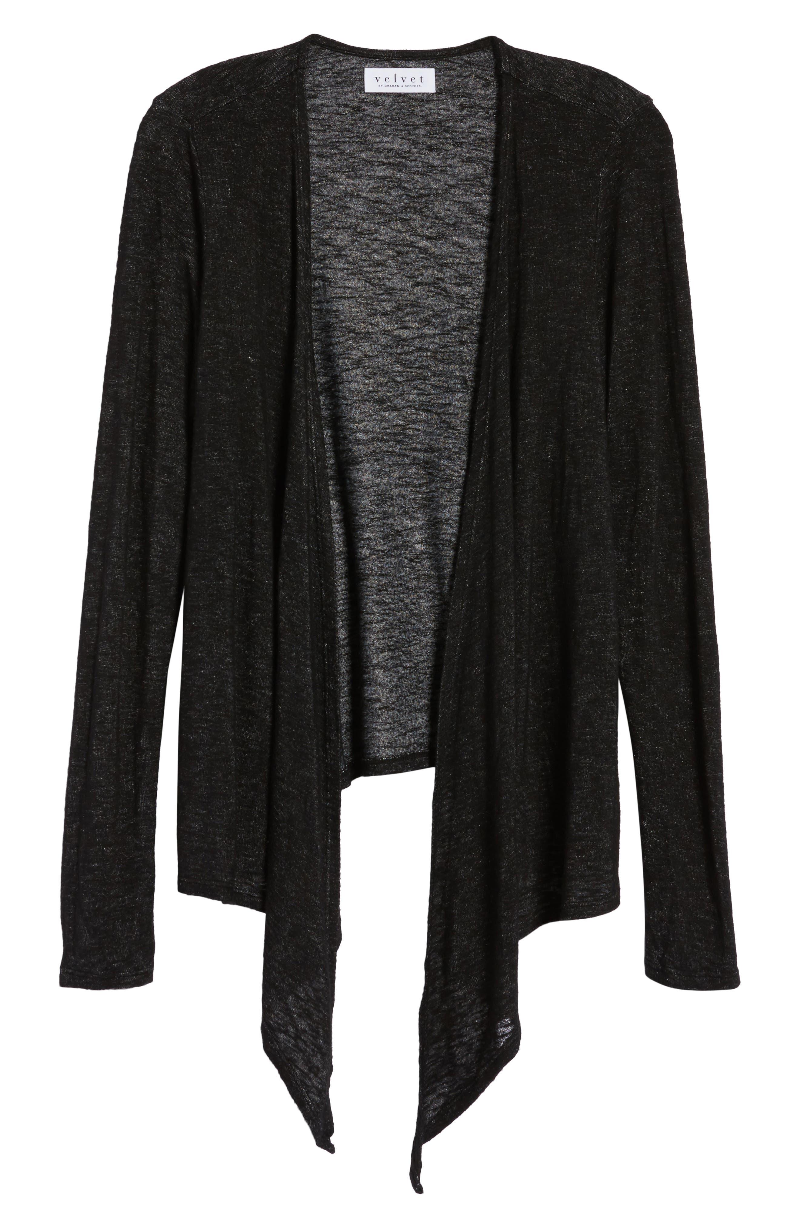 Textured Knit Ballet Tie Cardigan,                             Alternate thumbnail 6, color,                             Black