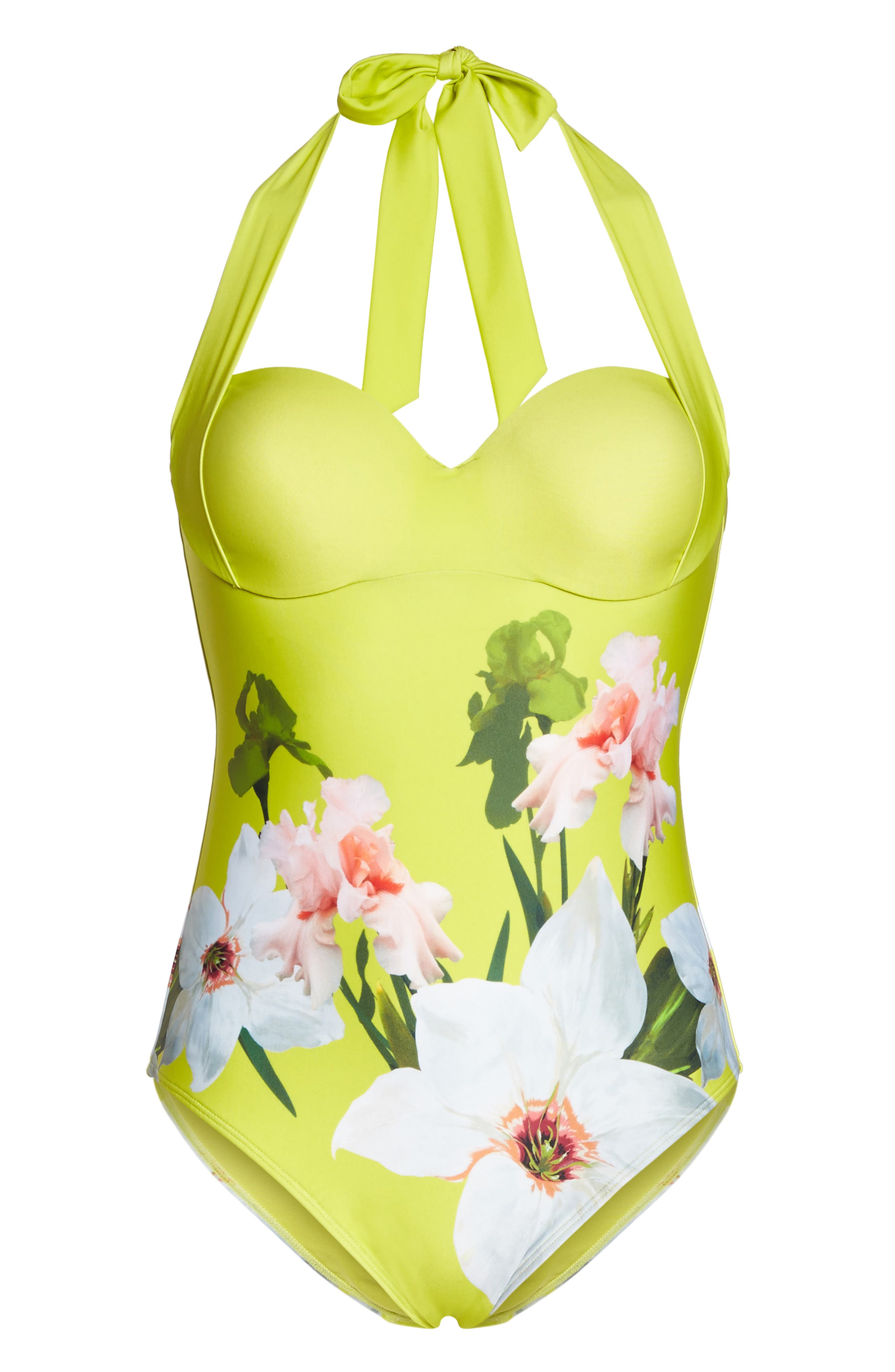 Chatsworth Bloom One-Piece Swimsuit,                             Alternate thumbnail 6, color,                             Light Green