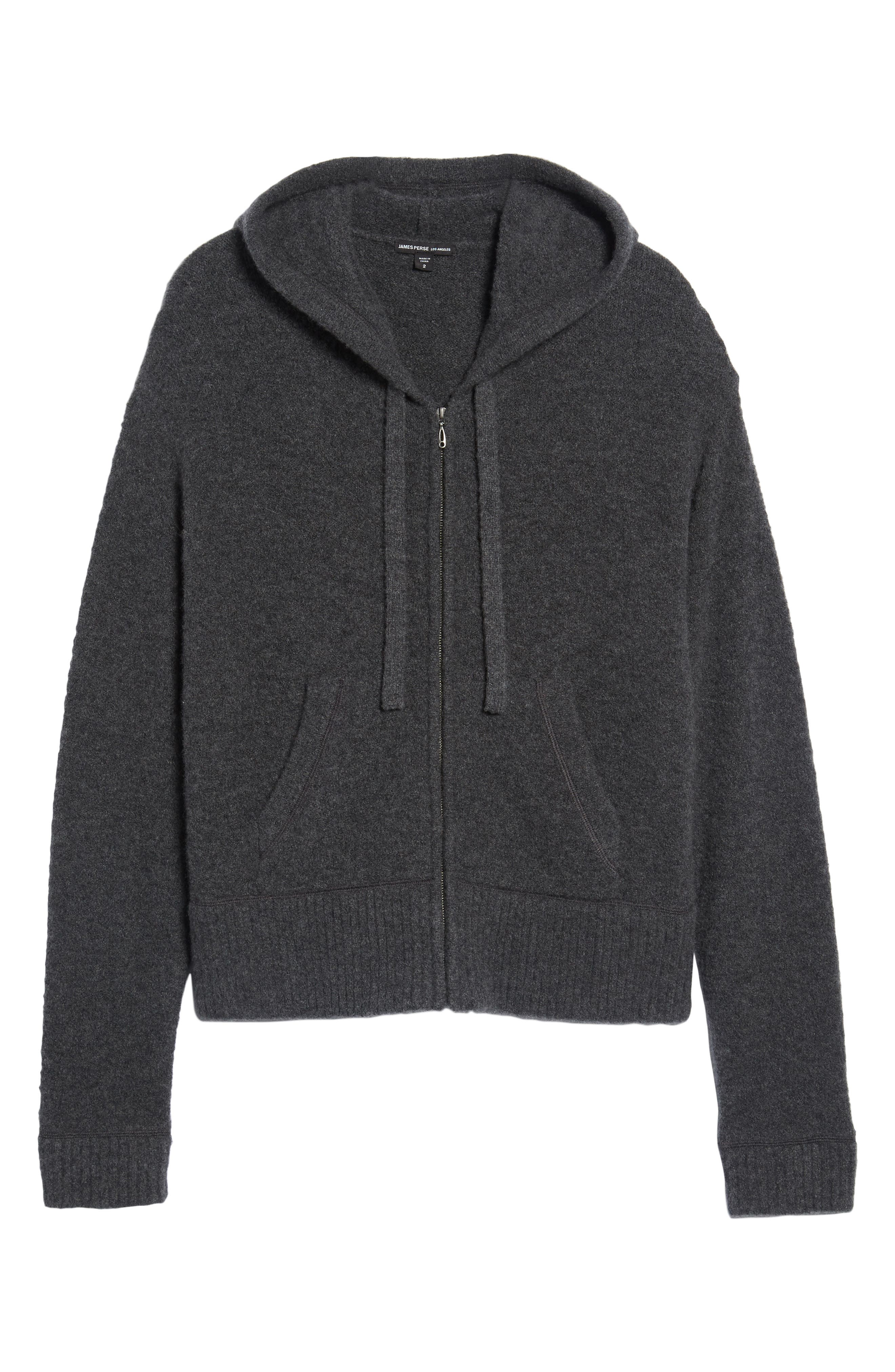 Brushed Cashmere Zip Hoodie,                             Alternate thumbnail 6, color,                             Charcoal