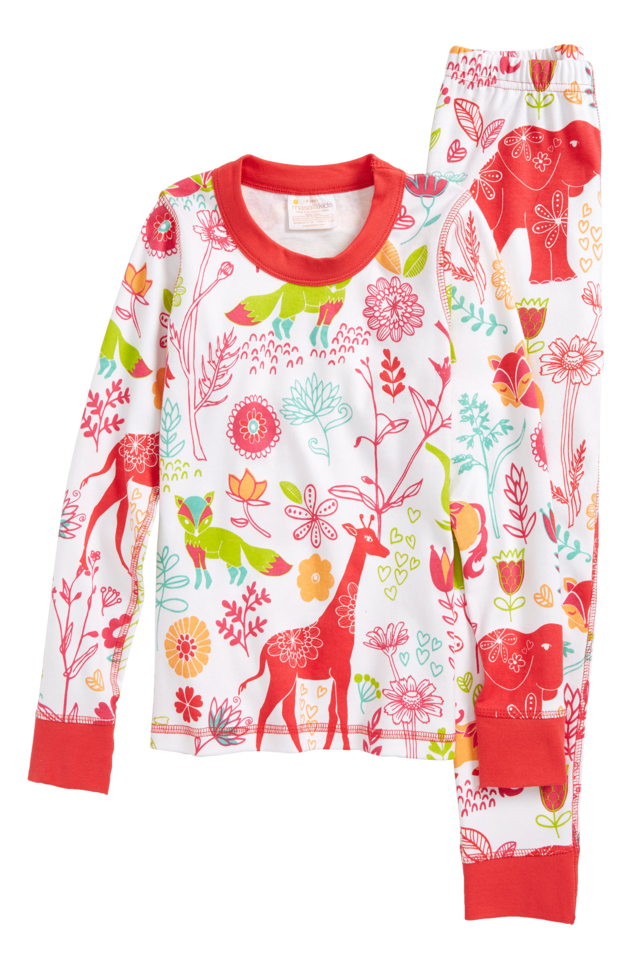 Magical Forest Fitted Two-Piece Pajamas,                         Main,                         color, Pink