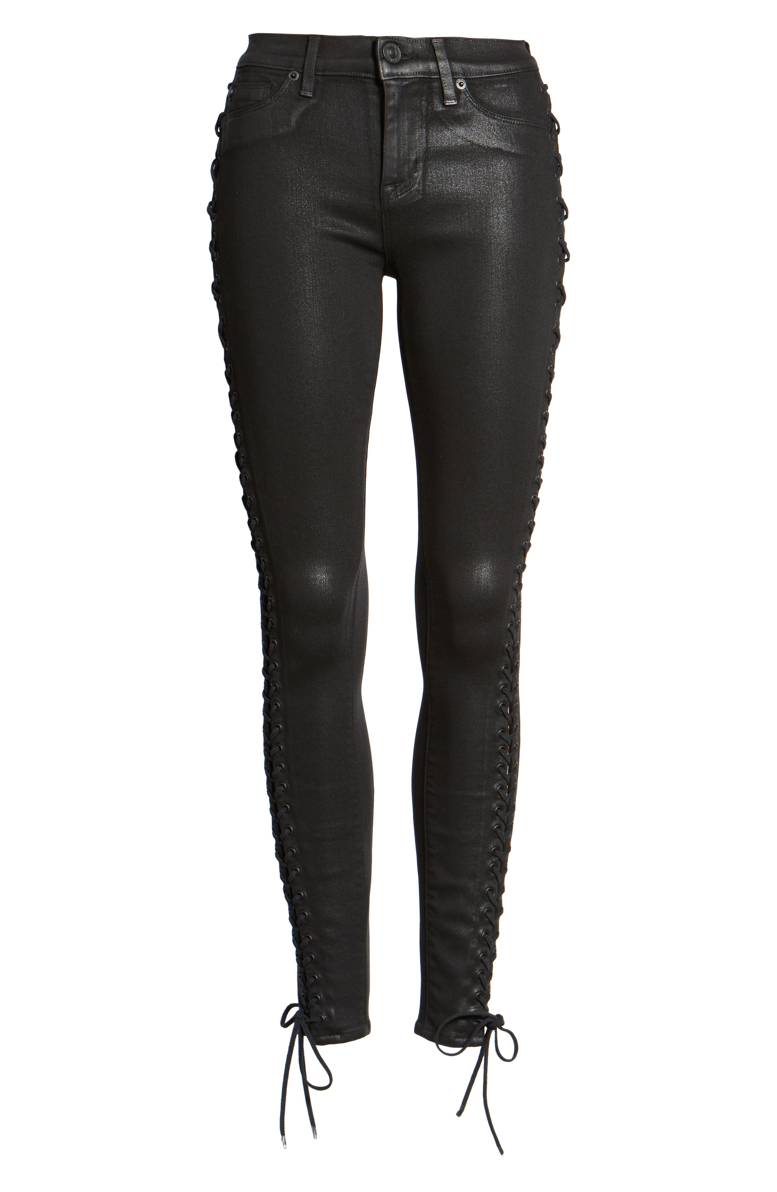 Alternate Image 6  - Hudson Jeans Stevie Lace-Up Skinny Jeans (Black Coated)