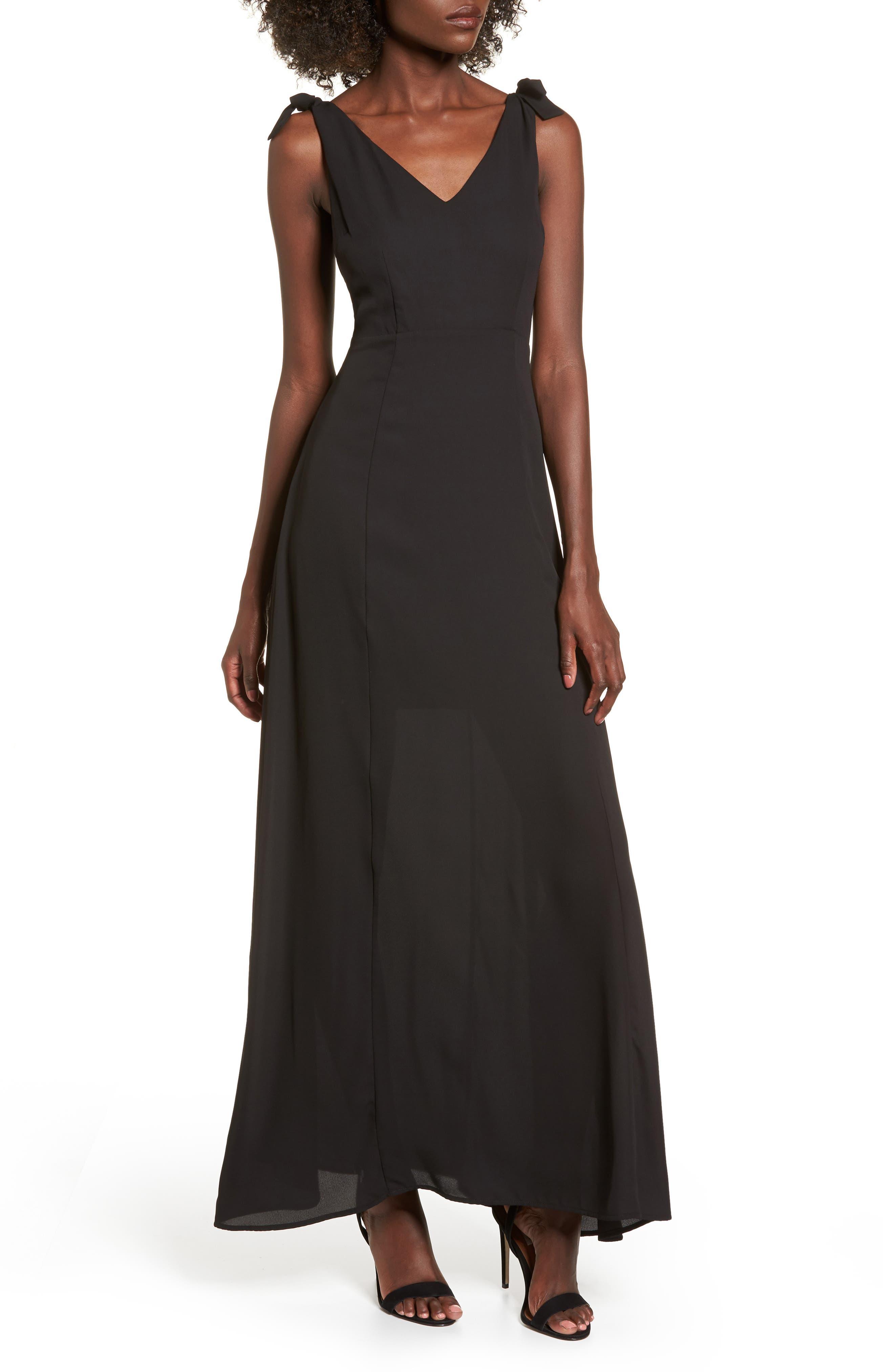 Tie Strap Maxi Dress,                             Main thumbnail 1, color,                             Black