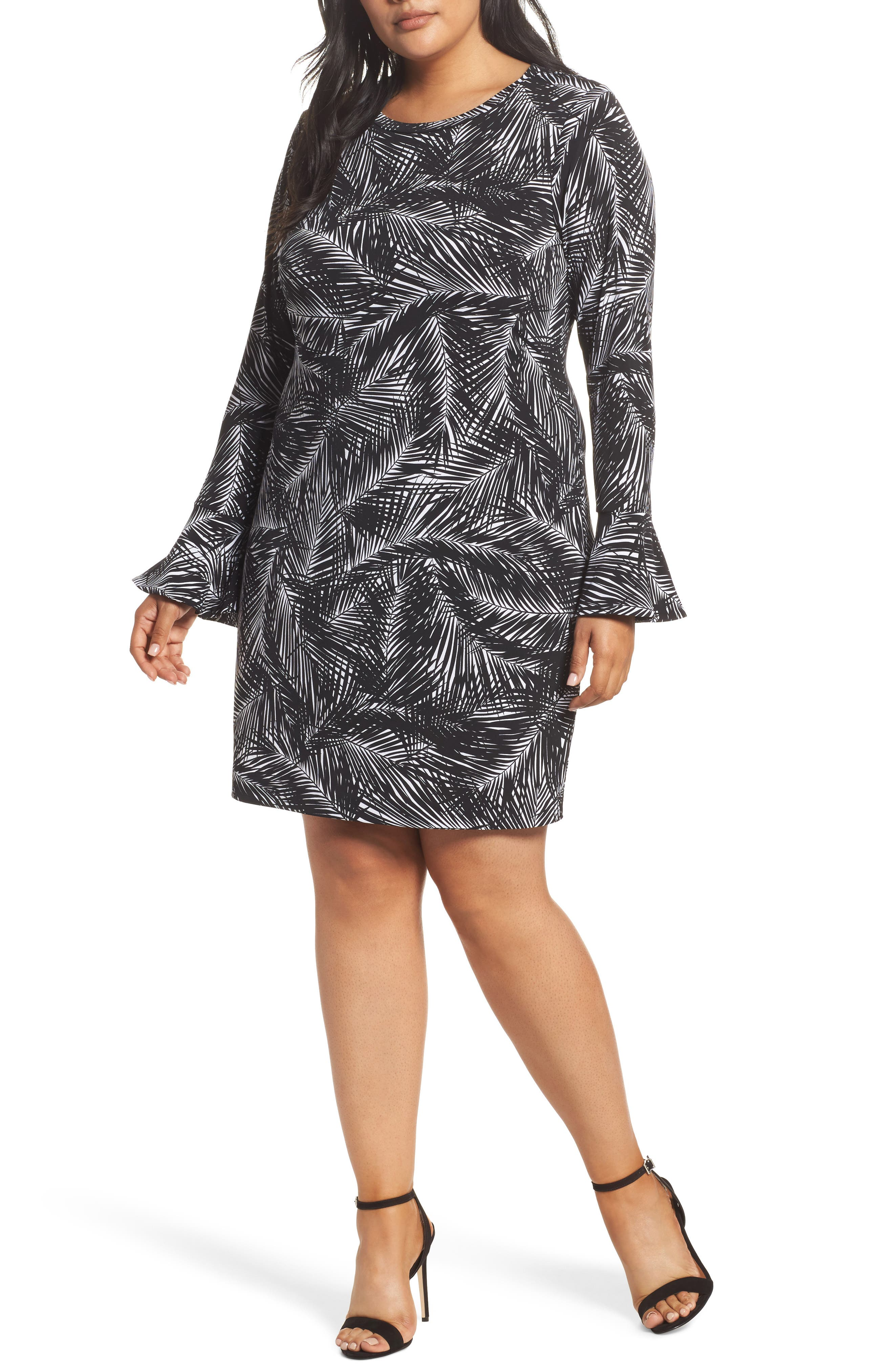 Abstract Palm Dress,                         Main,                         color, Black/ White