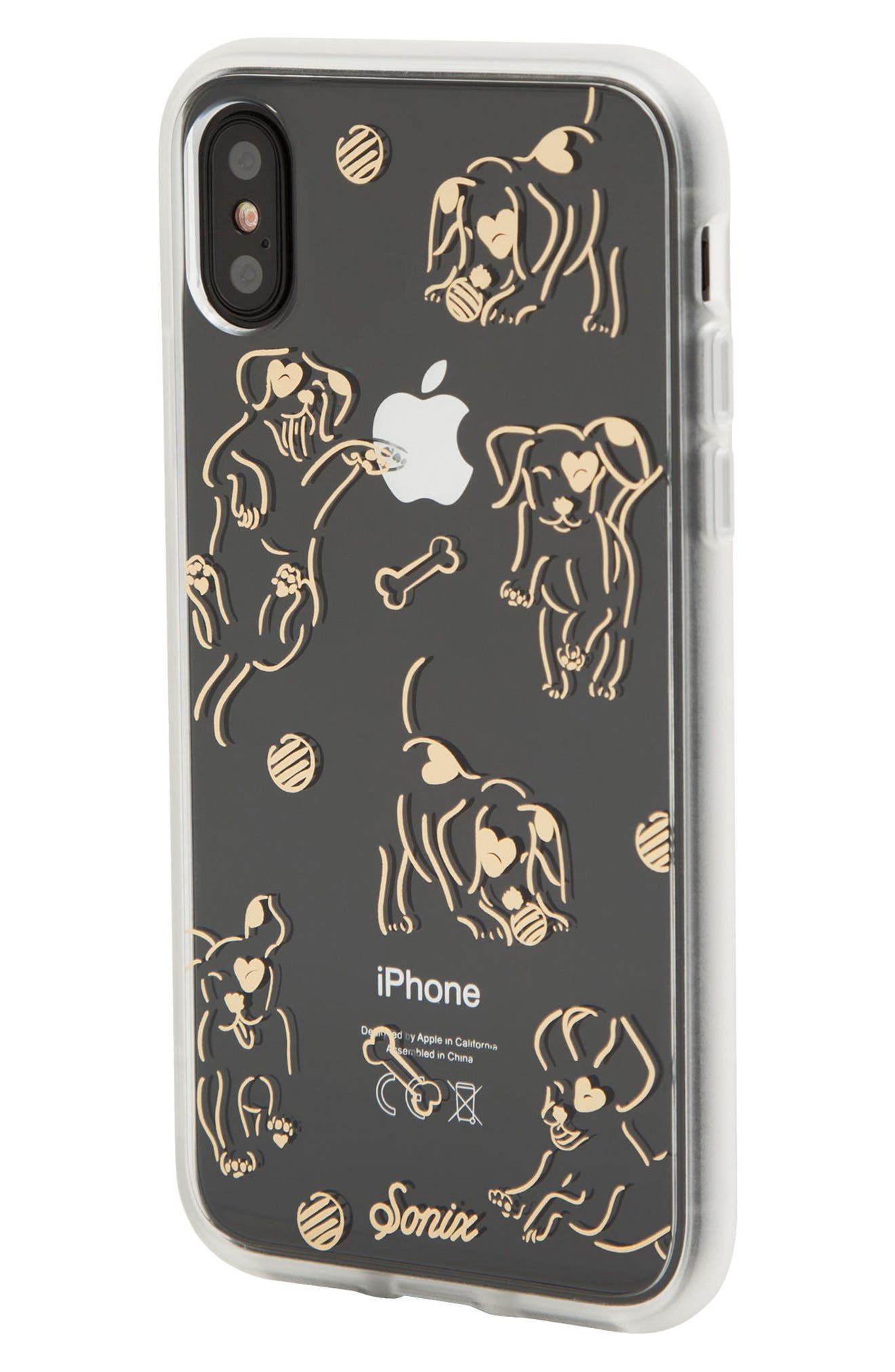 Hush Puppy iPhone X Case,                             Alternate thumbnail 2, color,                             Clear/ Gold