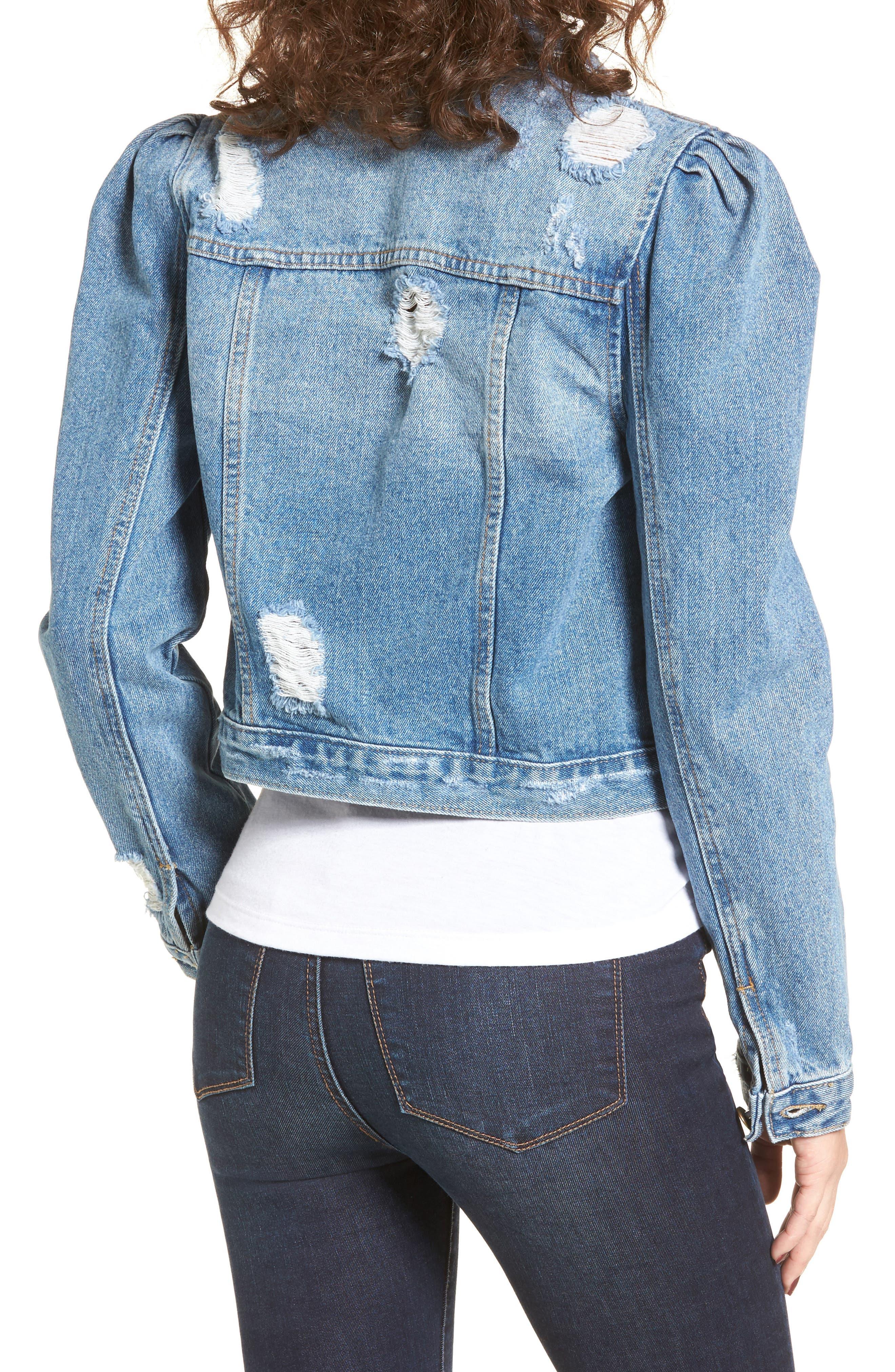 Alternate Image 2  - MOON RIVER Distressed Denim Jacket