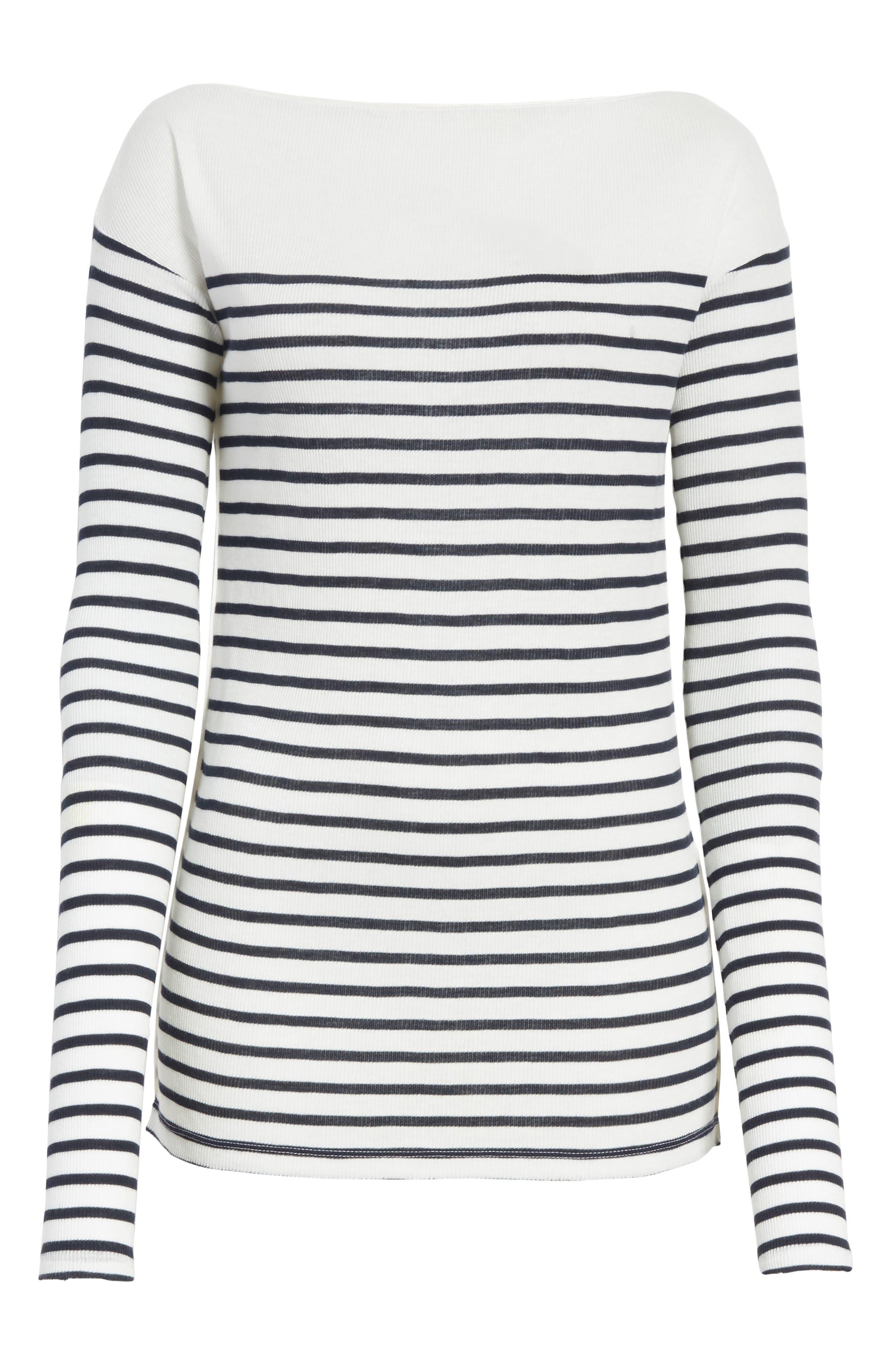 Madison Stripe Long Sleeve Top,                             Alternate thumbnail 6, color,                             Ivory/ Navy