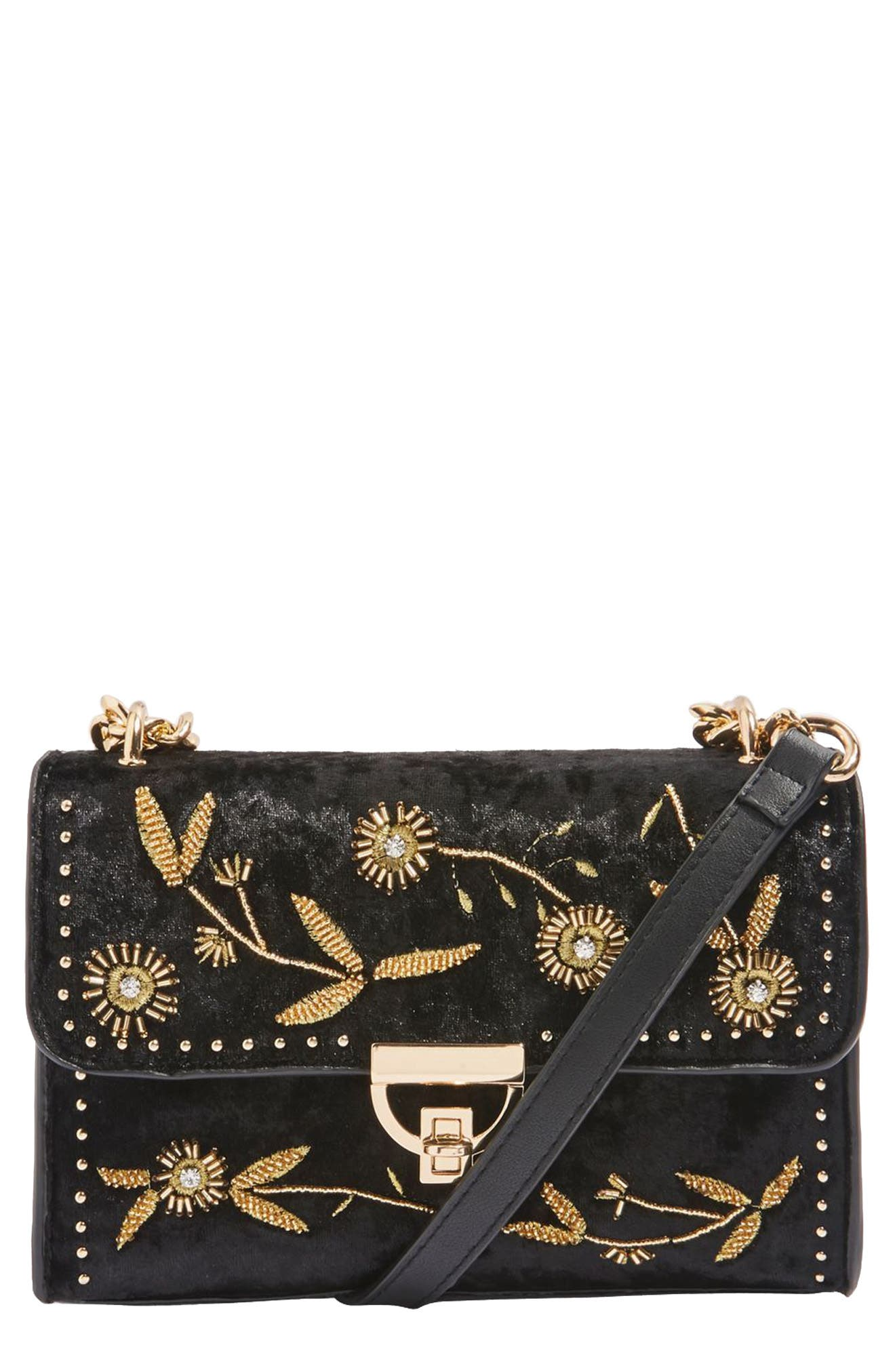 Topshop Rennes Beaded Velvet Crossbody Bag