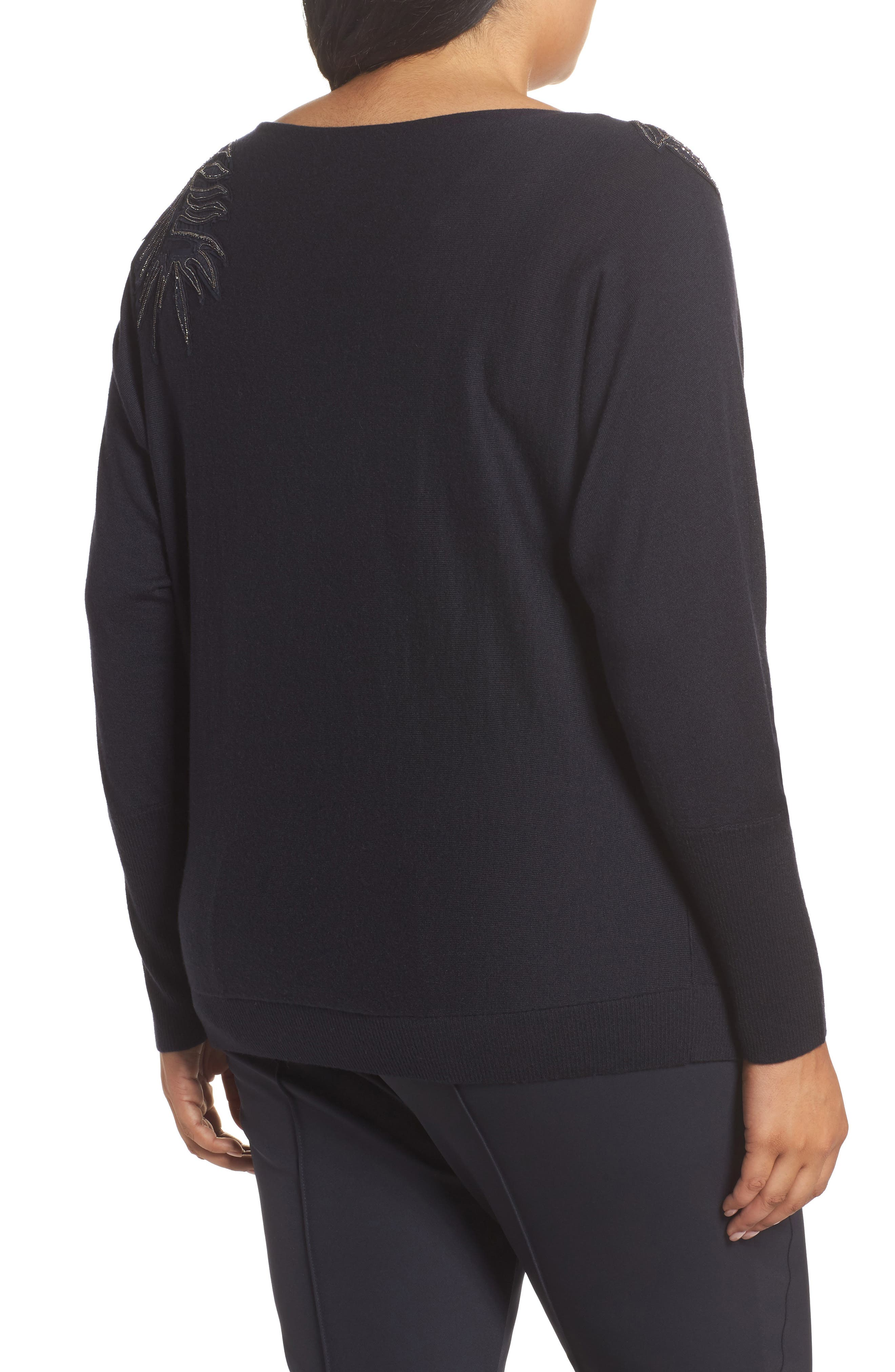 Cashmere & Silk Dolman Sweater,                             Alternate thumbnail 2, color,                             Ink