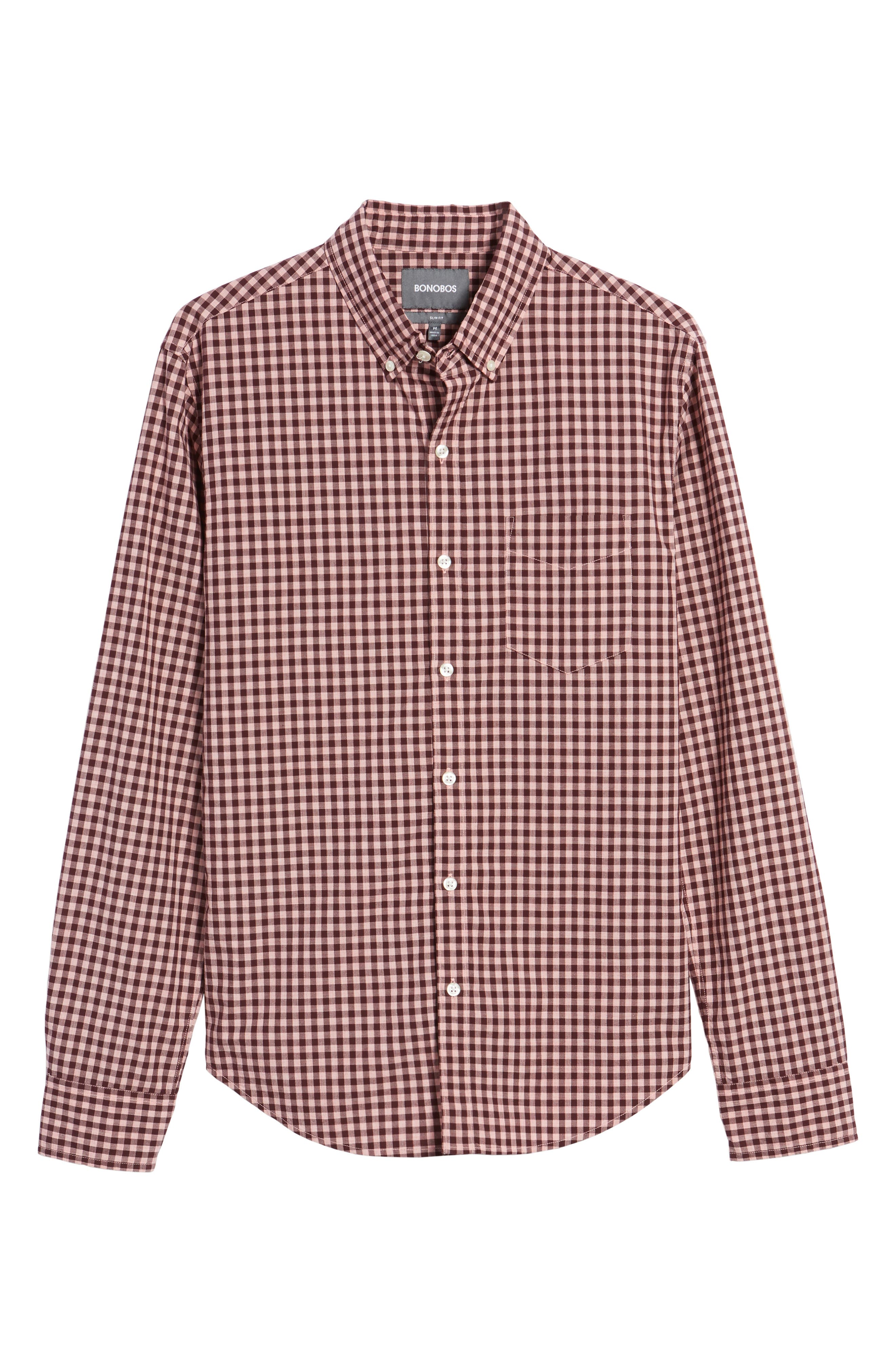 Slim Fit Washed Ombré Check Sport Shirt,                             Alternate thumbnail 6, color,                             Heather Pink Gingham