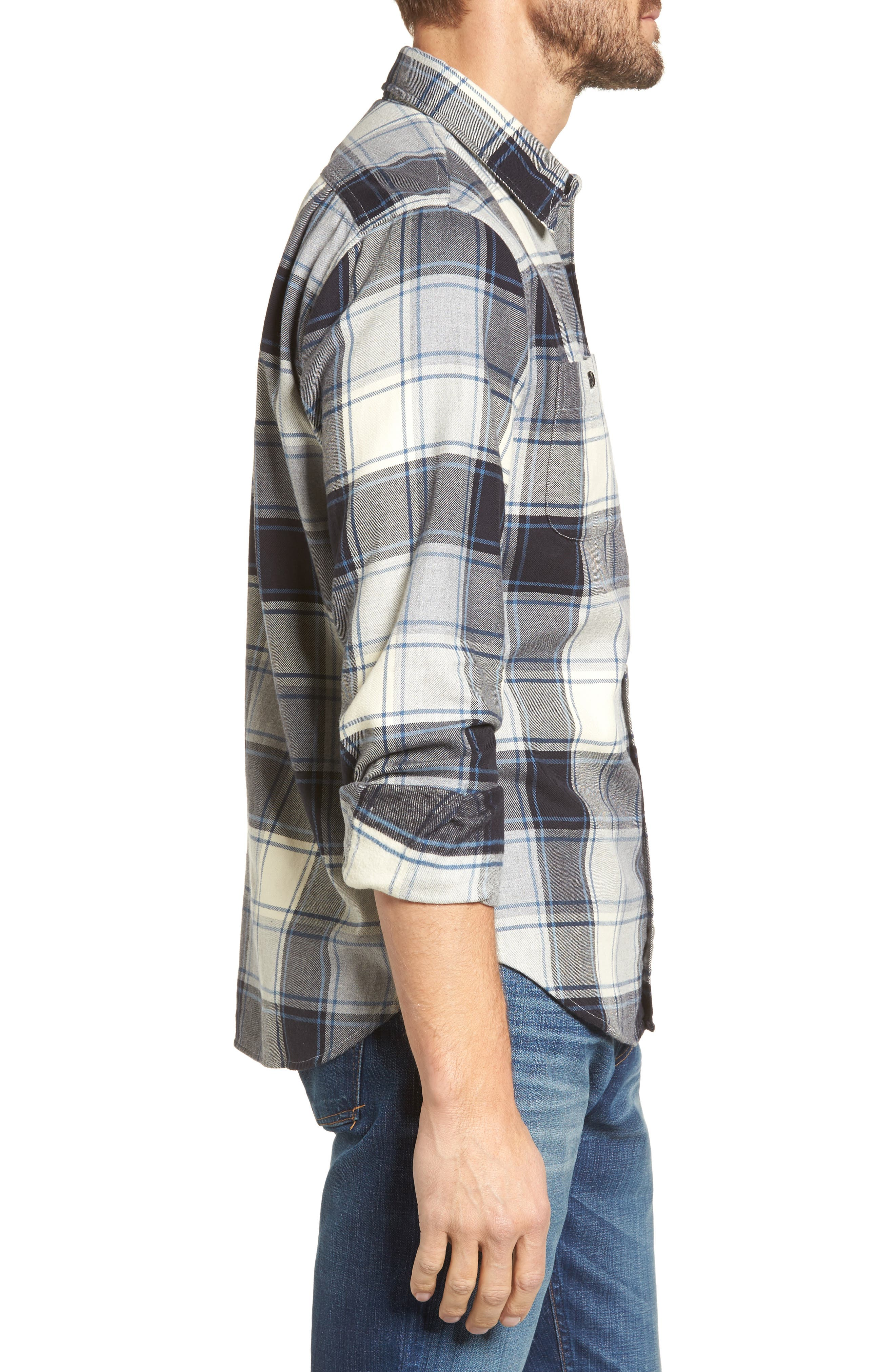 Slim Fit Plaid Flannel Shirt,                             Alternate thumbnail 3, color,                             House Flannel/ Real Teal