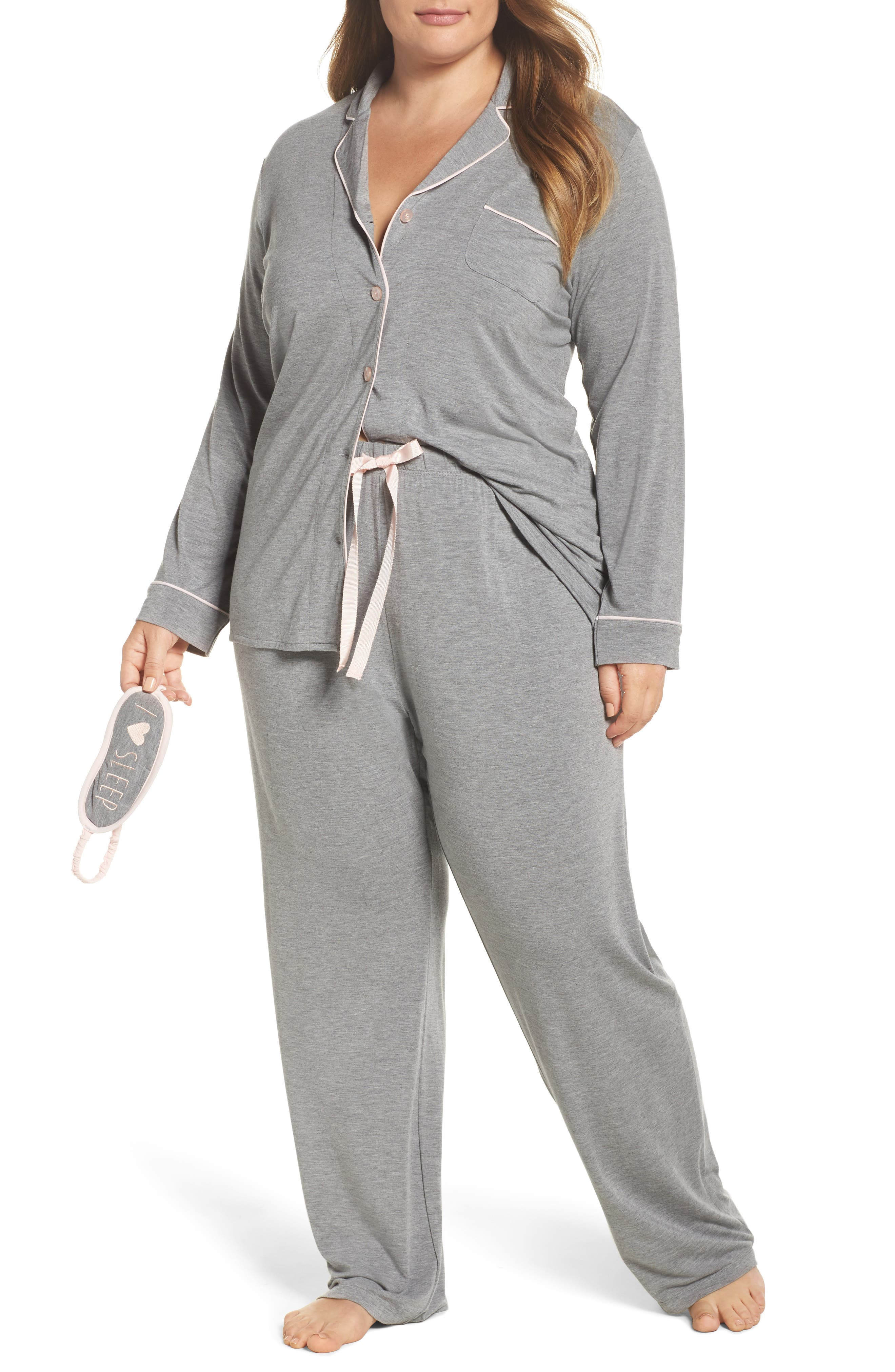 Main Image - PJ Salvage Stretch Modal Pajamas & Eye Mask (Plus Size)
