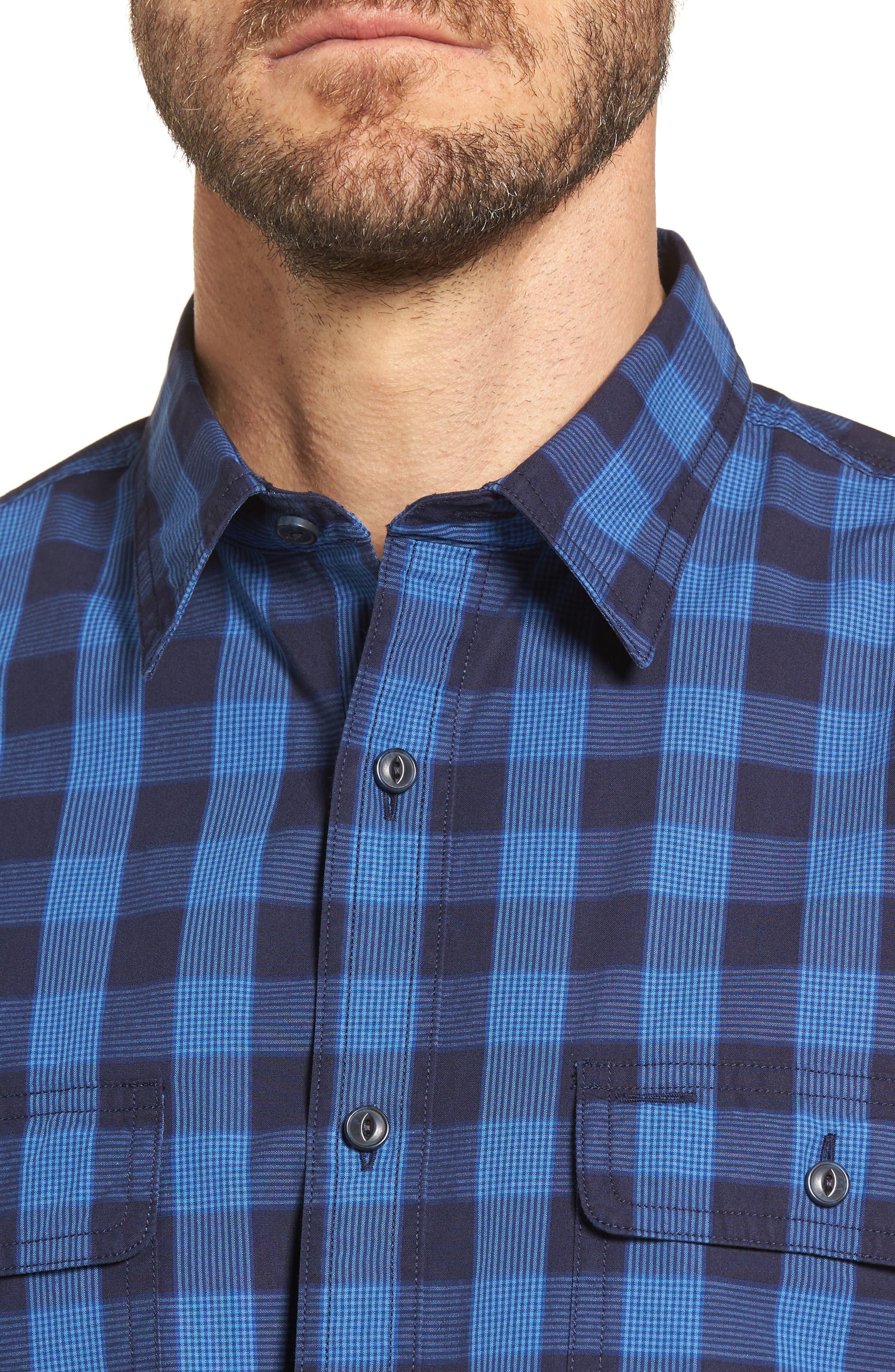 Trim Fit Plaid Trucker Sport Shirt,                             Alternate thumbnail 2, color,                             Navy Iris Blue Check