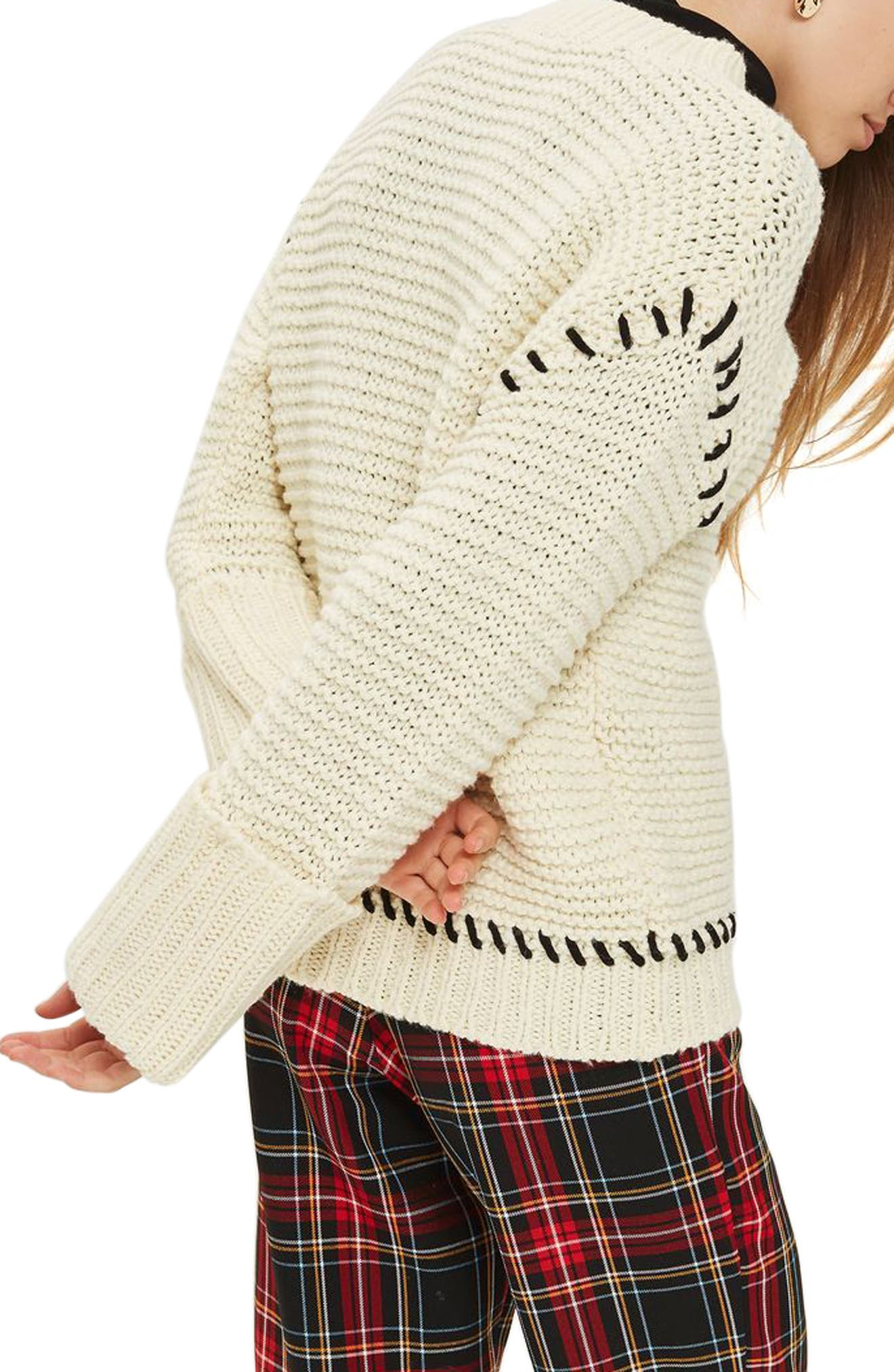 Whipstitch Sweater,                             Alternate thumbnail 3, color,                             Cream Multi