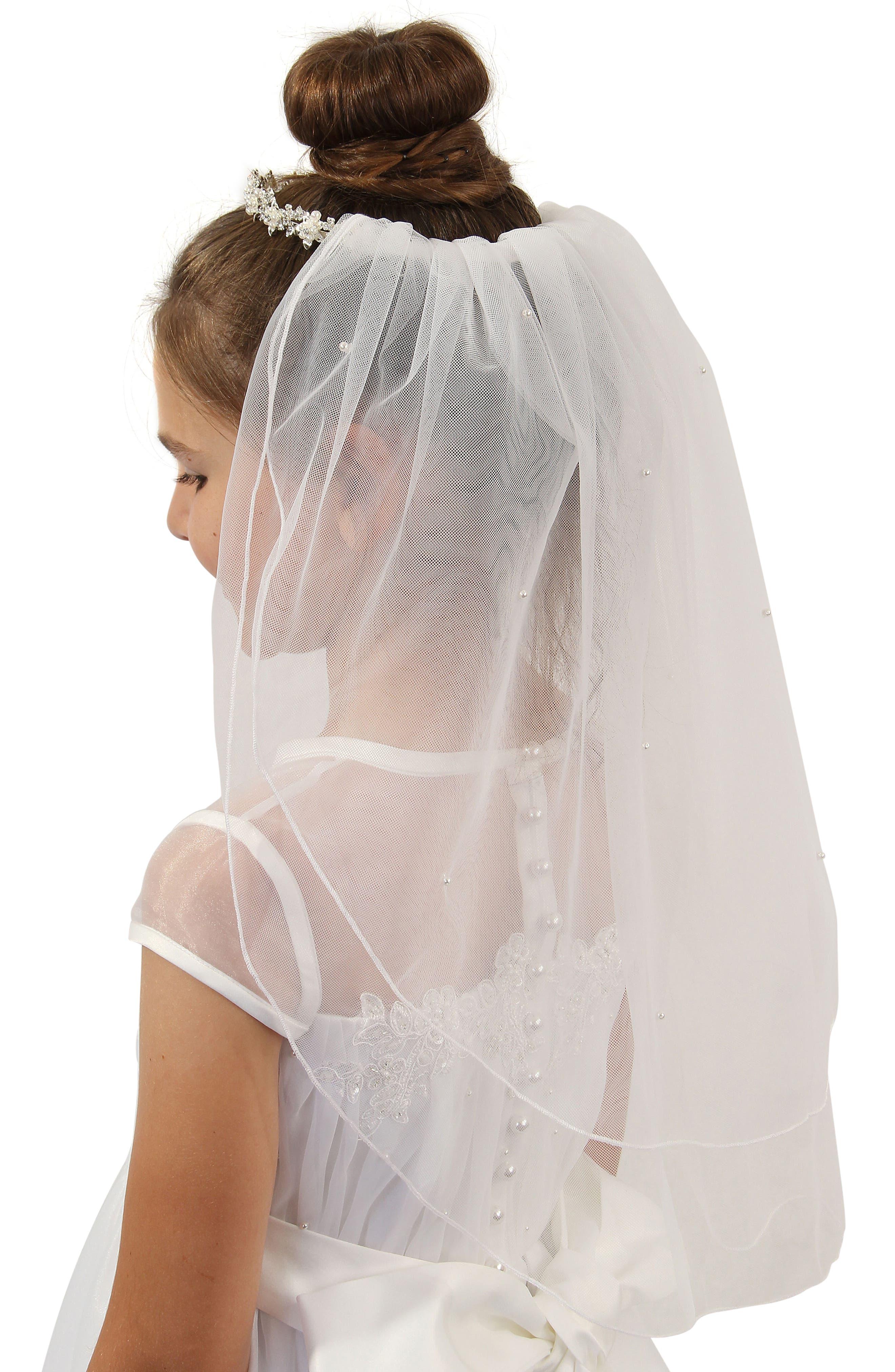 Alternate Image 2  - Lauren Marie Imitation Pearl Crown & Veil (Big Girls)