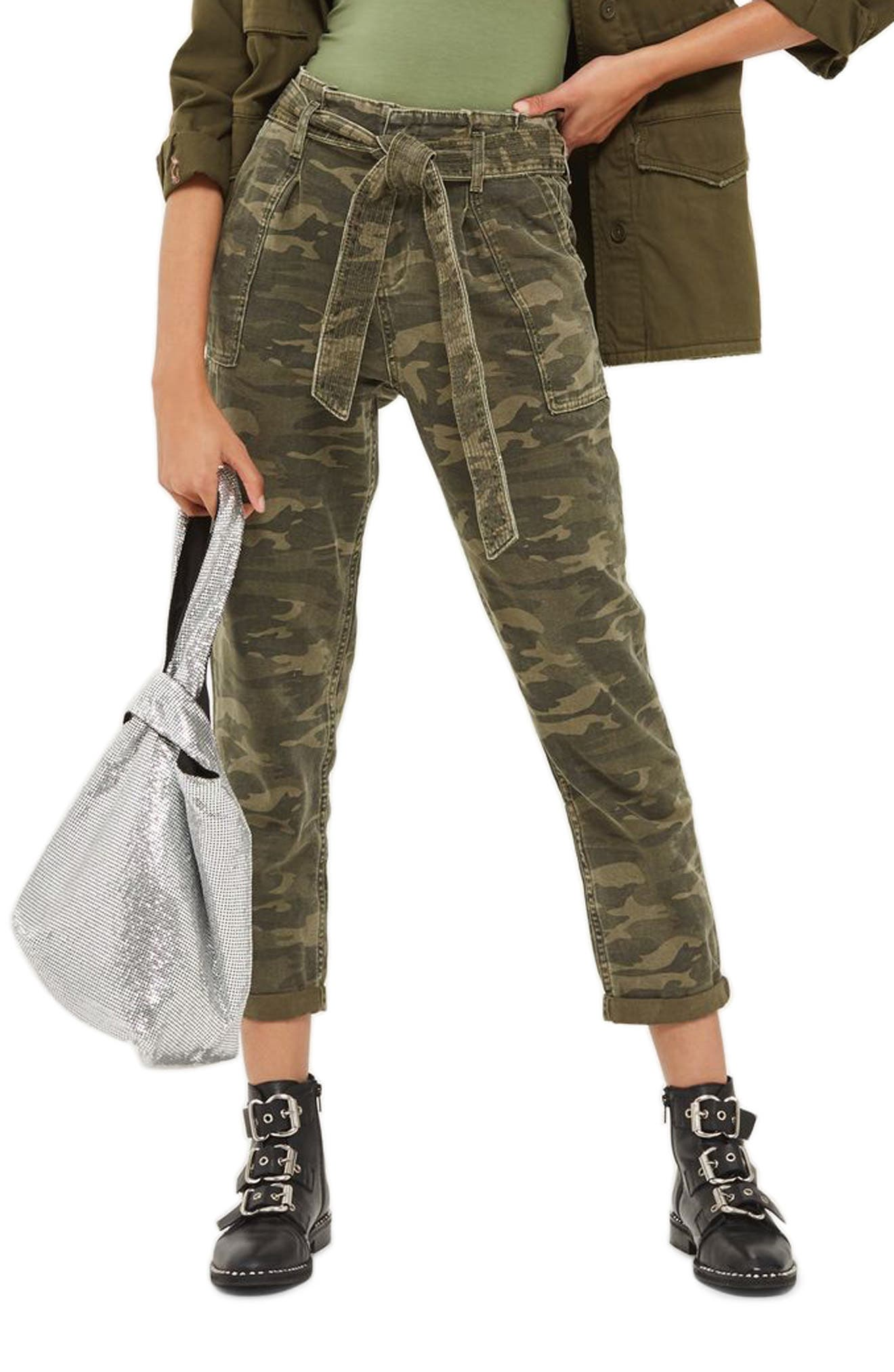 Topshop Camo Belted Paperbag Pants