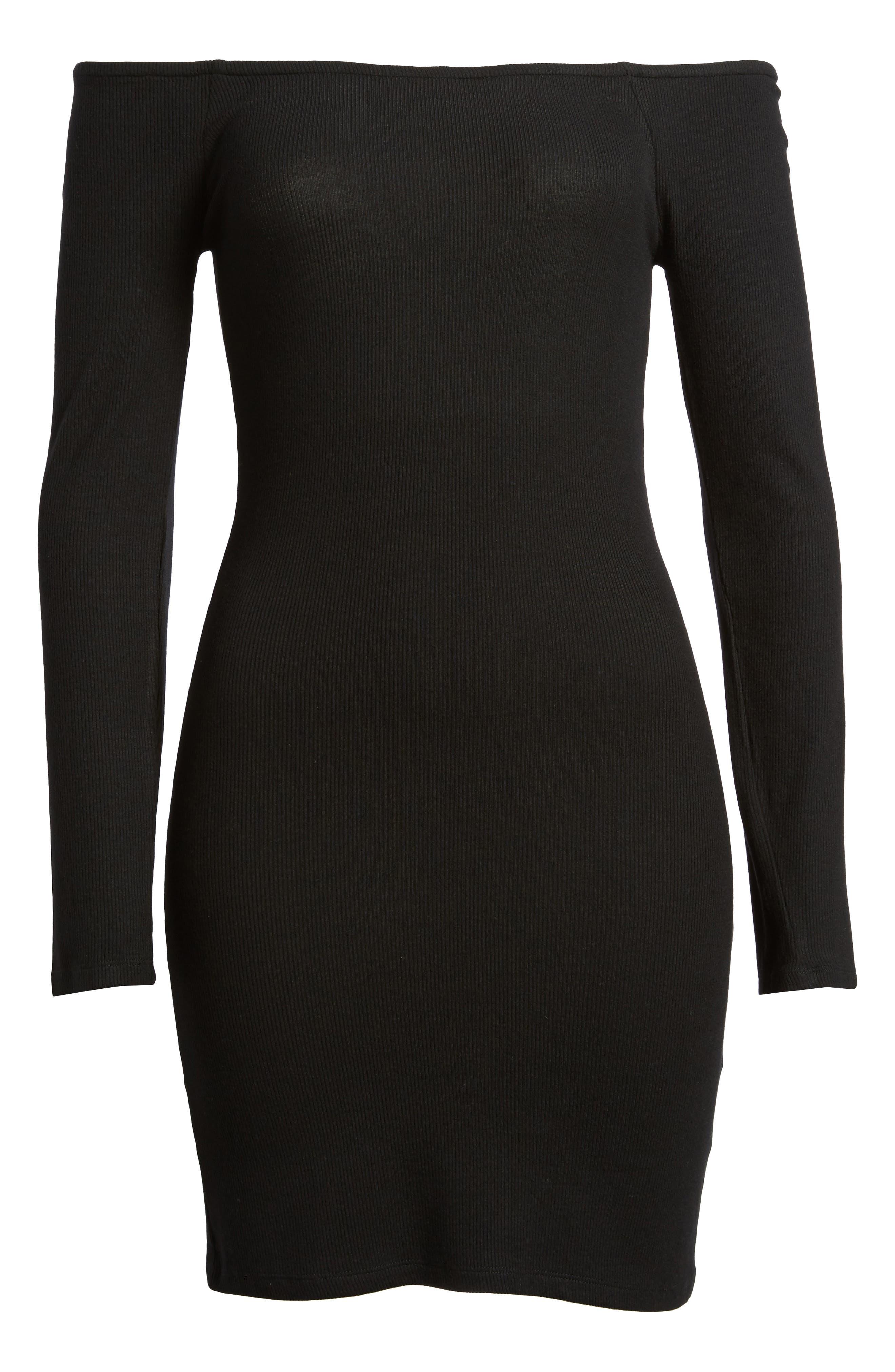 Milo Off the Shoulder Dress,                             Alternate thumbnail 6, color,                             Black
