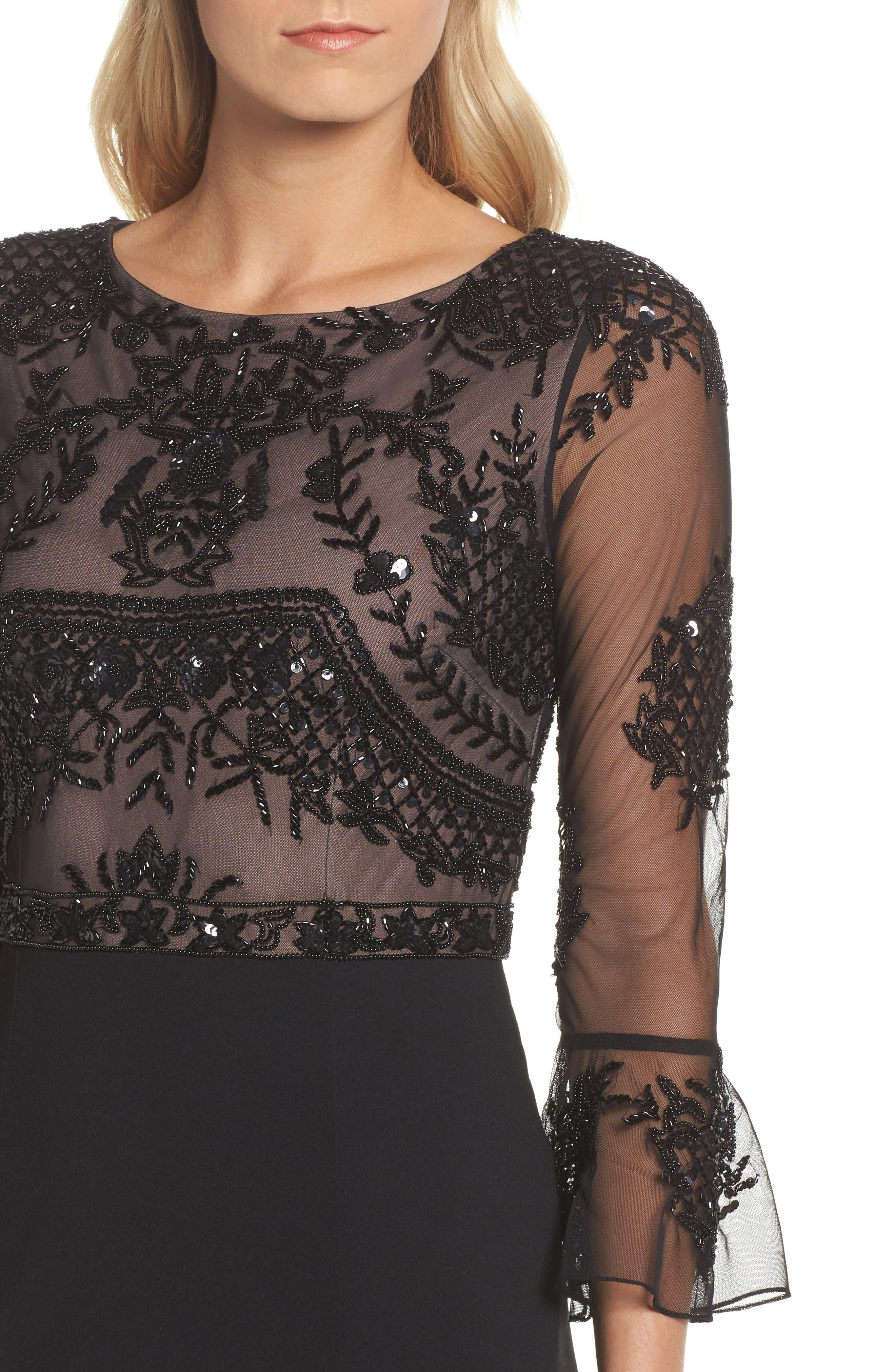 Embellished Ruffle Sleeve Mesh & Crepe Gown,                             Alternate thumbnail 4, color,                             Black